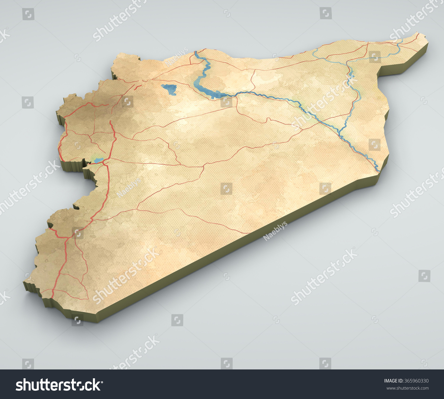Syria map physical map hand drawn 3d