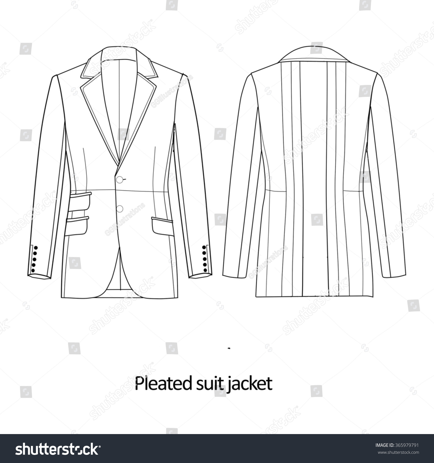 Flat Fashion Sketch Template Man Suit Stock Illustration 365979791