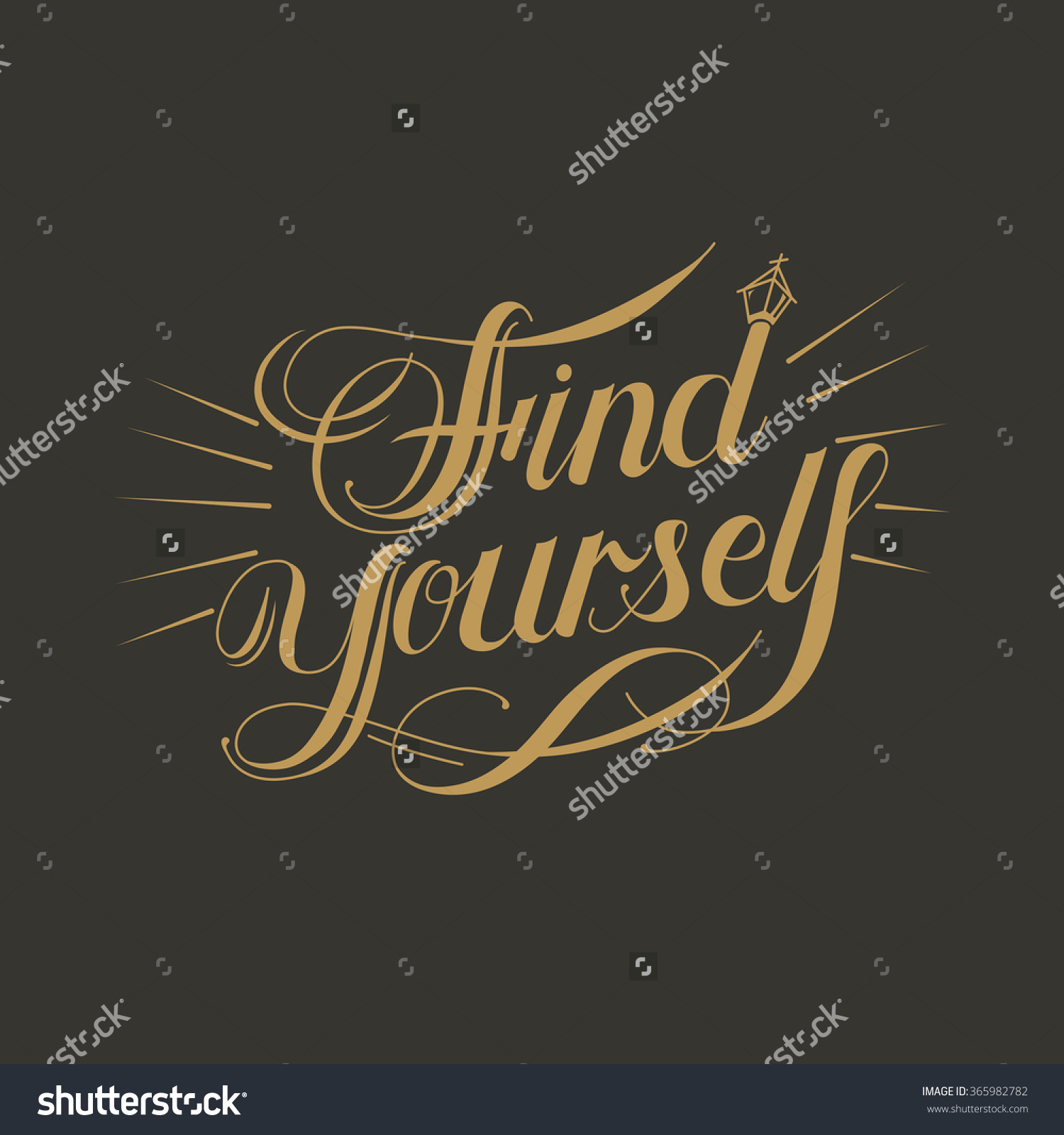 Retro Find Yourself Calligraphy Design Over Brown