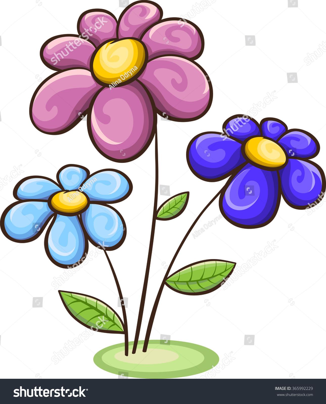 Garden floral seamless pattern on purple background watercolor vector - Three Cartoon Flowers Blue Pink Purple Stock Vector