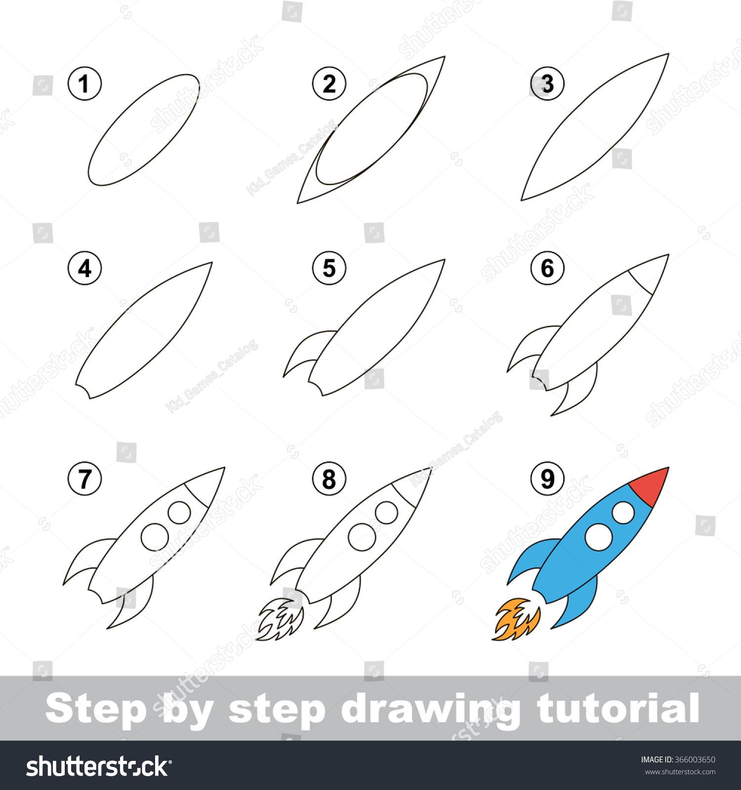 Drawing Tutorial How Draw Toy Rocket Stock Vektorgrafik Lizenzfrei