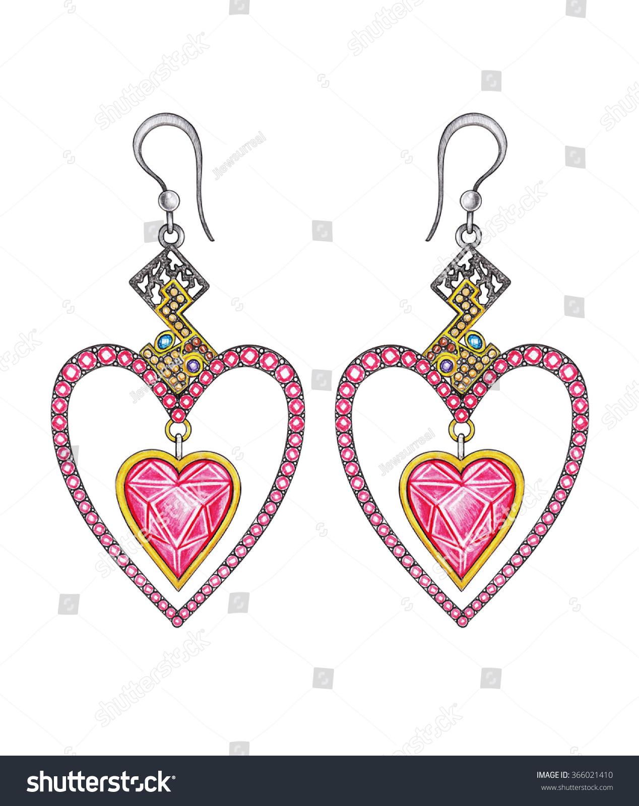 Jewelry Design Heart Earrings Hand Pencil Stock Illustration
