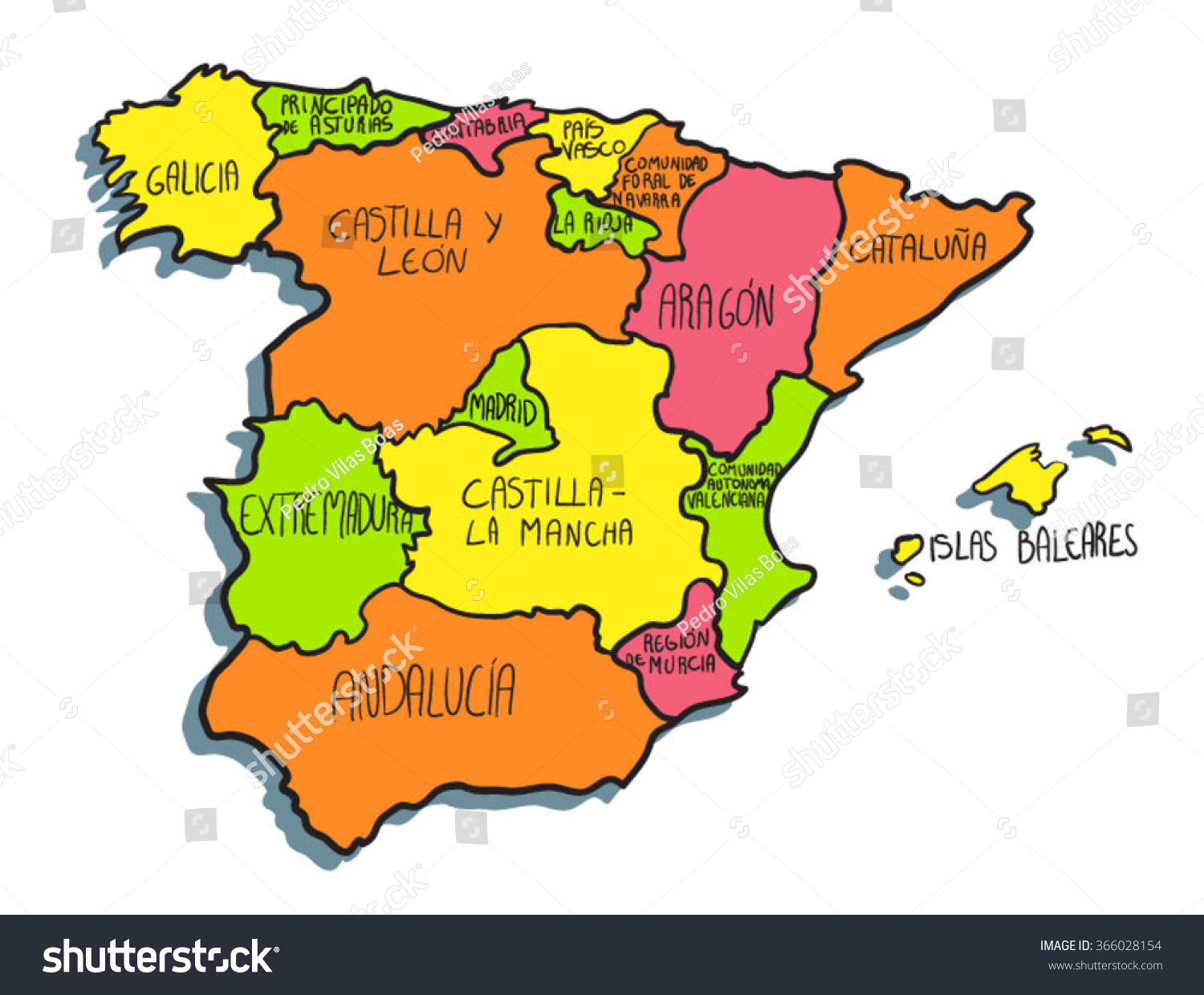 Colorful Cartoon Spain Map ...