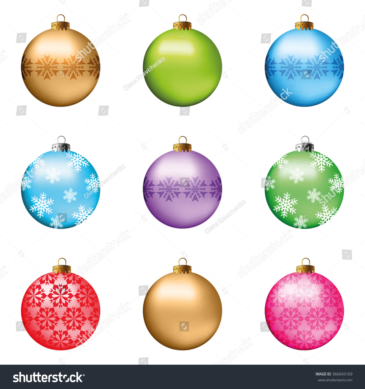 Set of 9 christmas ornaments with gold snowflakes. Vector ...
