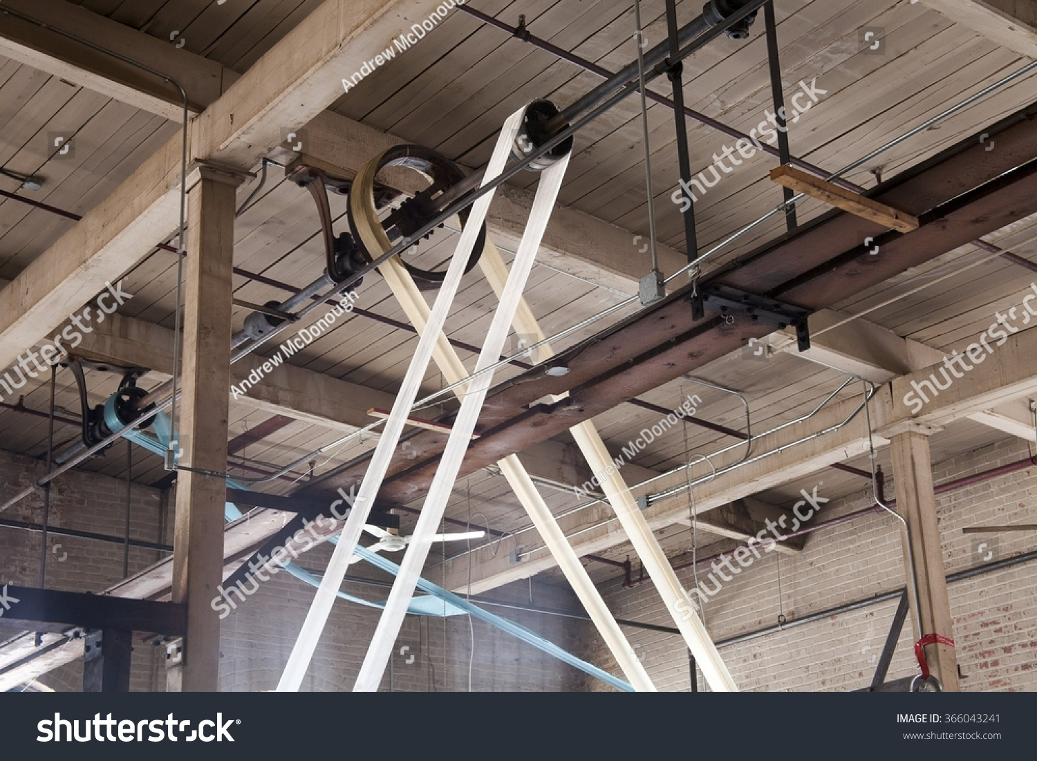 Pulley System Water Powered Machine Used Stock Photo Edit Now Old House Wiring Nz For A To Produce And Sew Fabrics In An