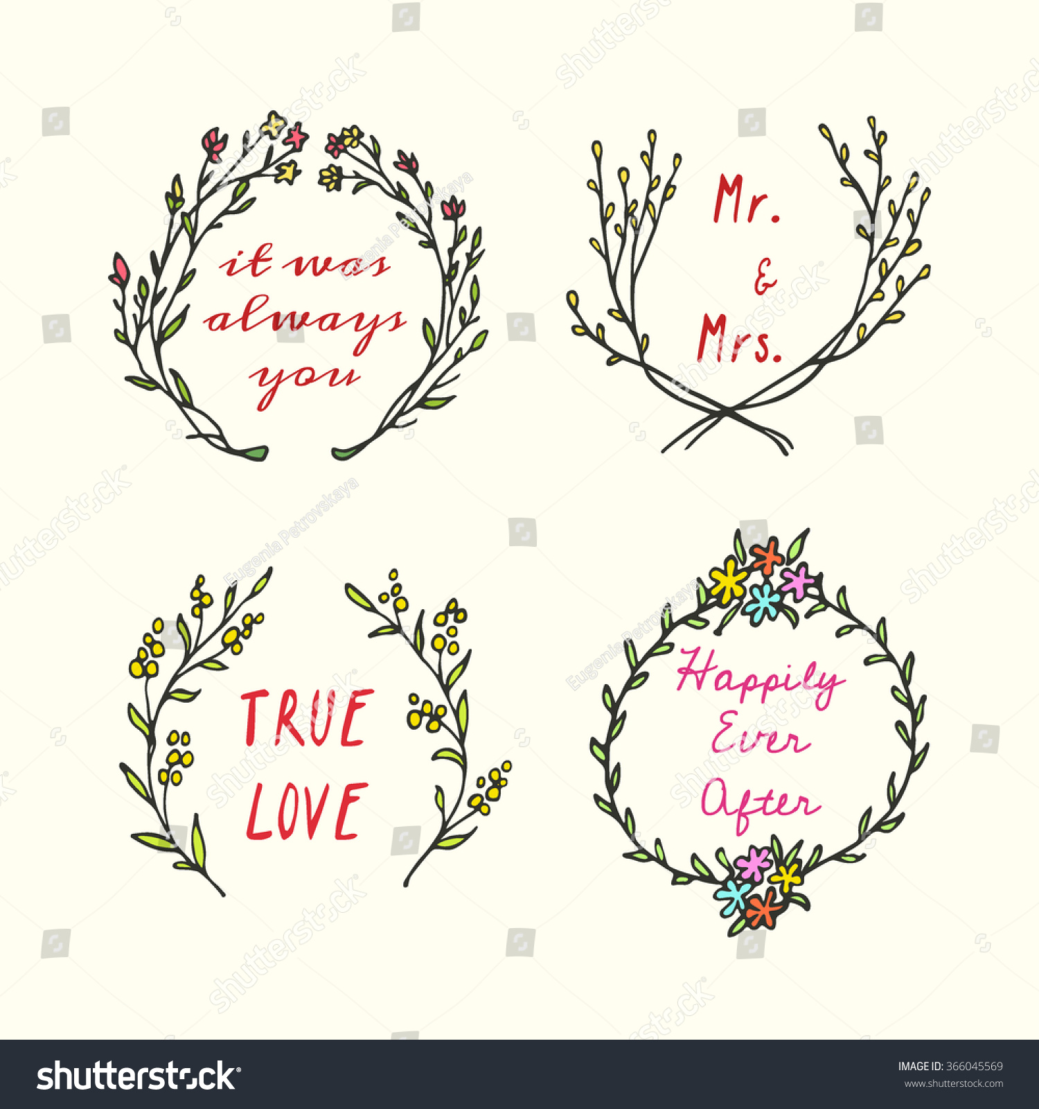 Vector Wedding Invitation Graphics Hand Drawn Stock Vector ...