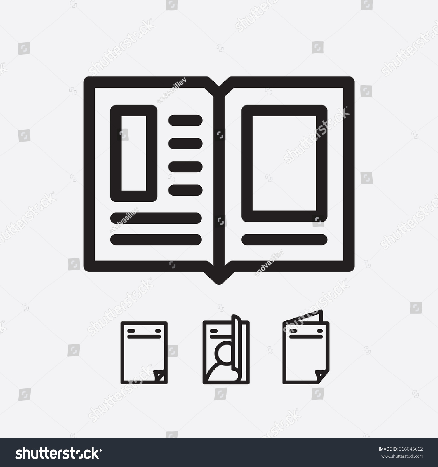 Magazine Open Page Vector. Journal Icon - 366045662 ...