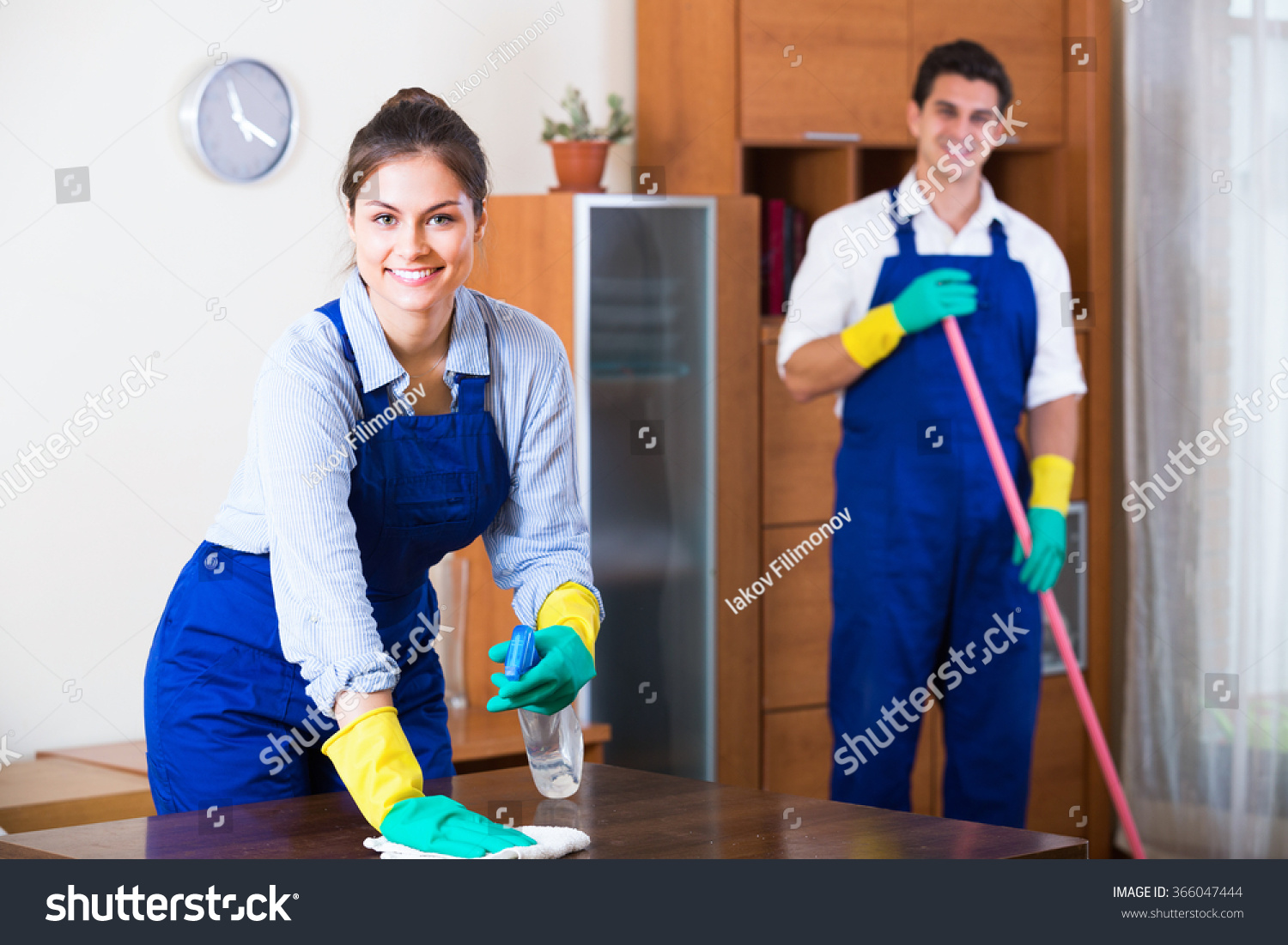 Professional Cleaners Cleaning Dusting Ordinary Apartment Stock ...