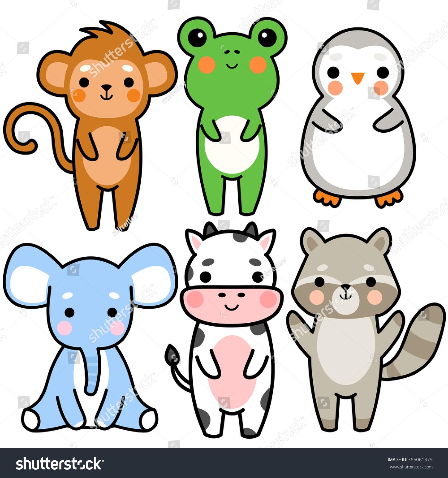 Set Six Illustration Cute Cartoon Baby Stock Vector (Royalty Free ...