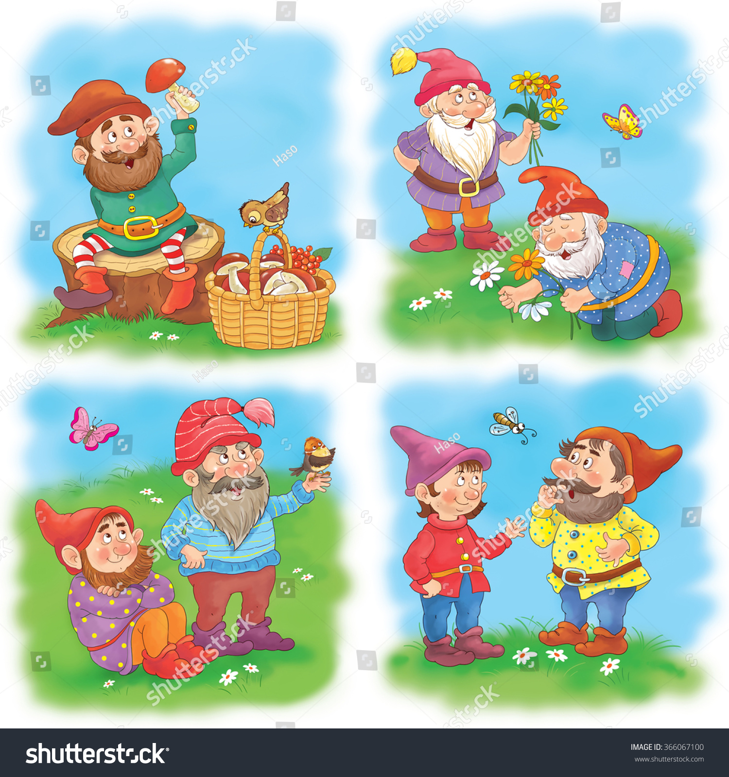 Childrens Wallpaper Set Of Cute Fairy Tale Characters Seven Dwarfs