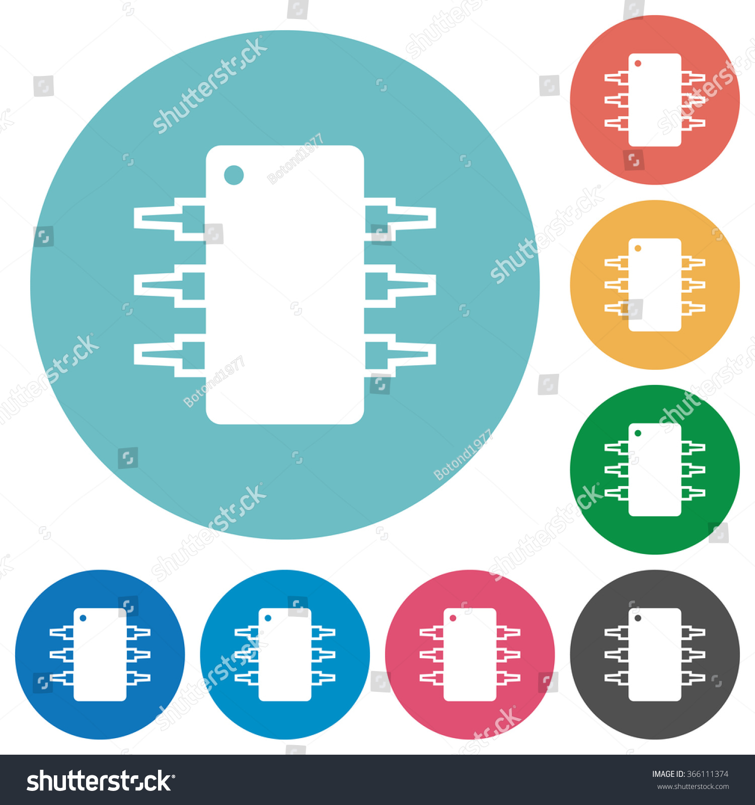 Flat Integrated Circuit Icon Set On Stock Vector (Royalty Free ...