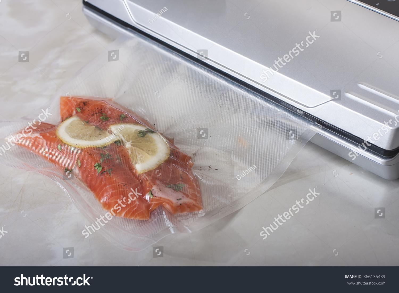 Salmon fillets vacuum package sousvide new stock photo for Cuisine sous vide