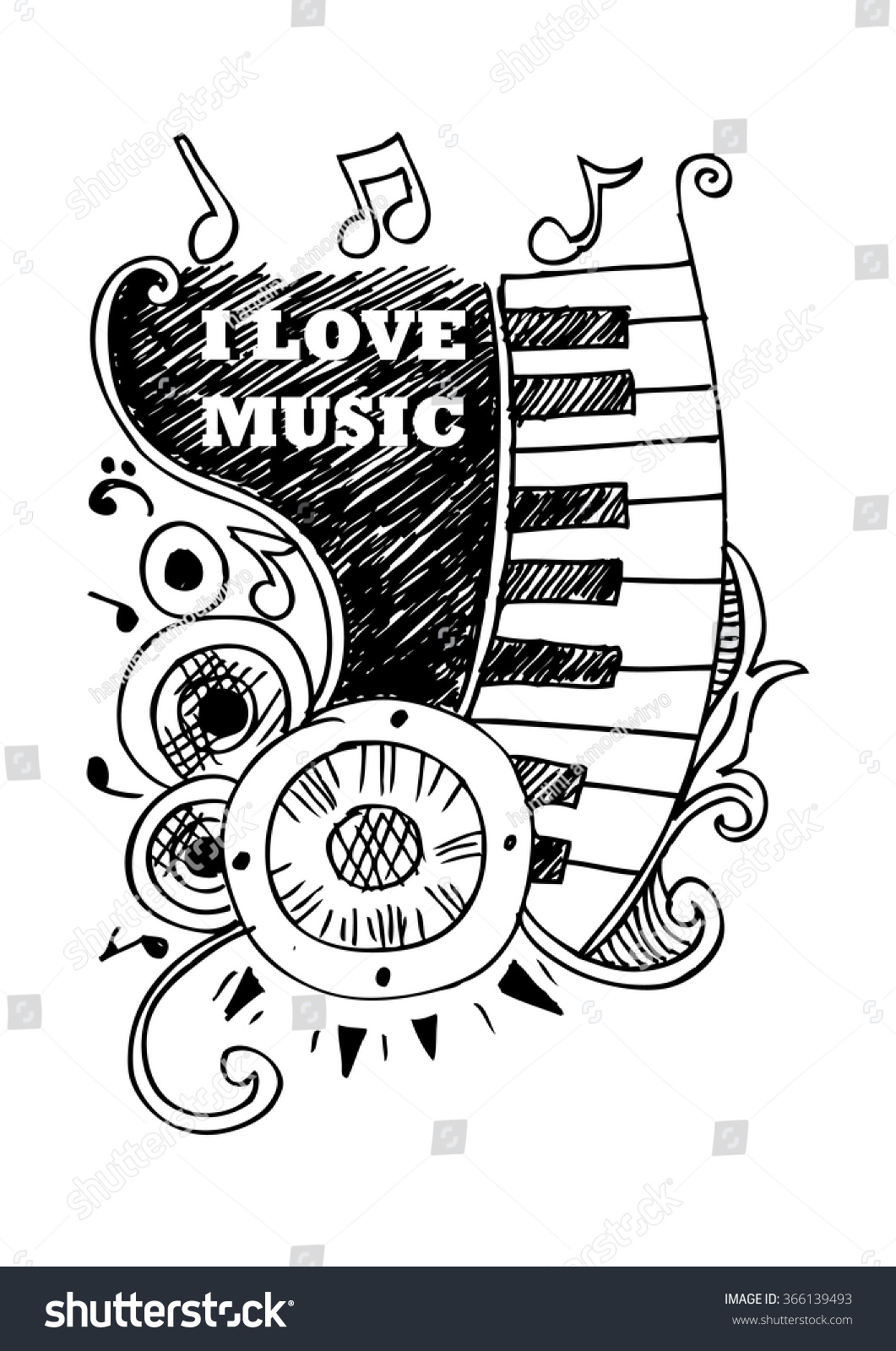 Music sketches with text i love music vector illustration