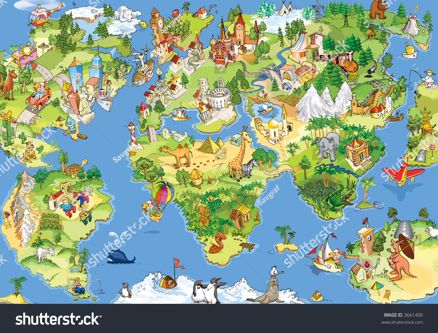 Great funny cartoon world map all ilustracin en stock 3661400 great and funny cartoon world map all sightseeings in all continents illustration for kids gumiabroncs Choice Image