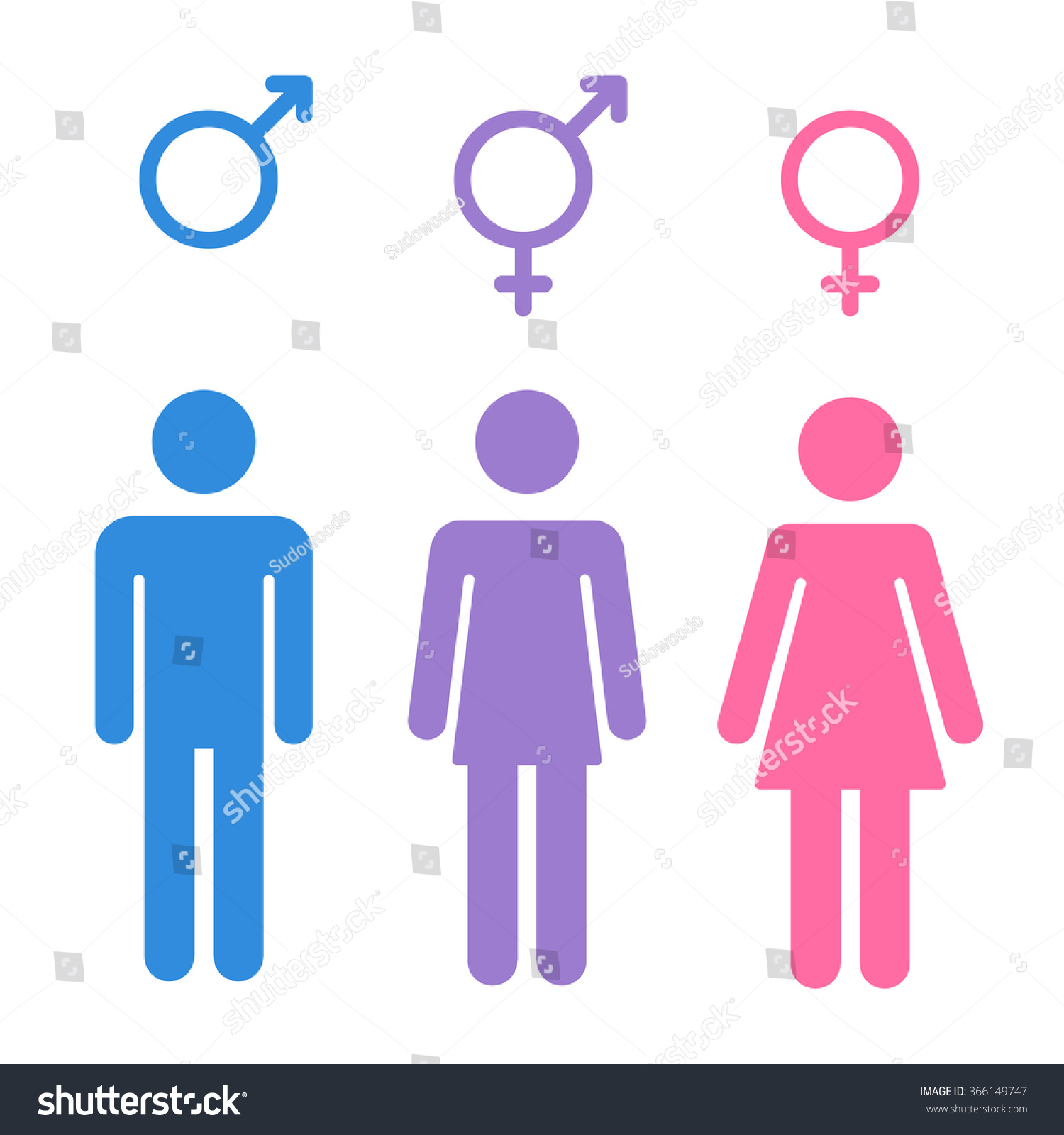 Set Gender Symbols Stylized Silhouettes Male Stock Illustration