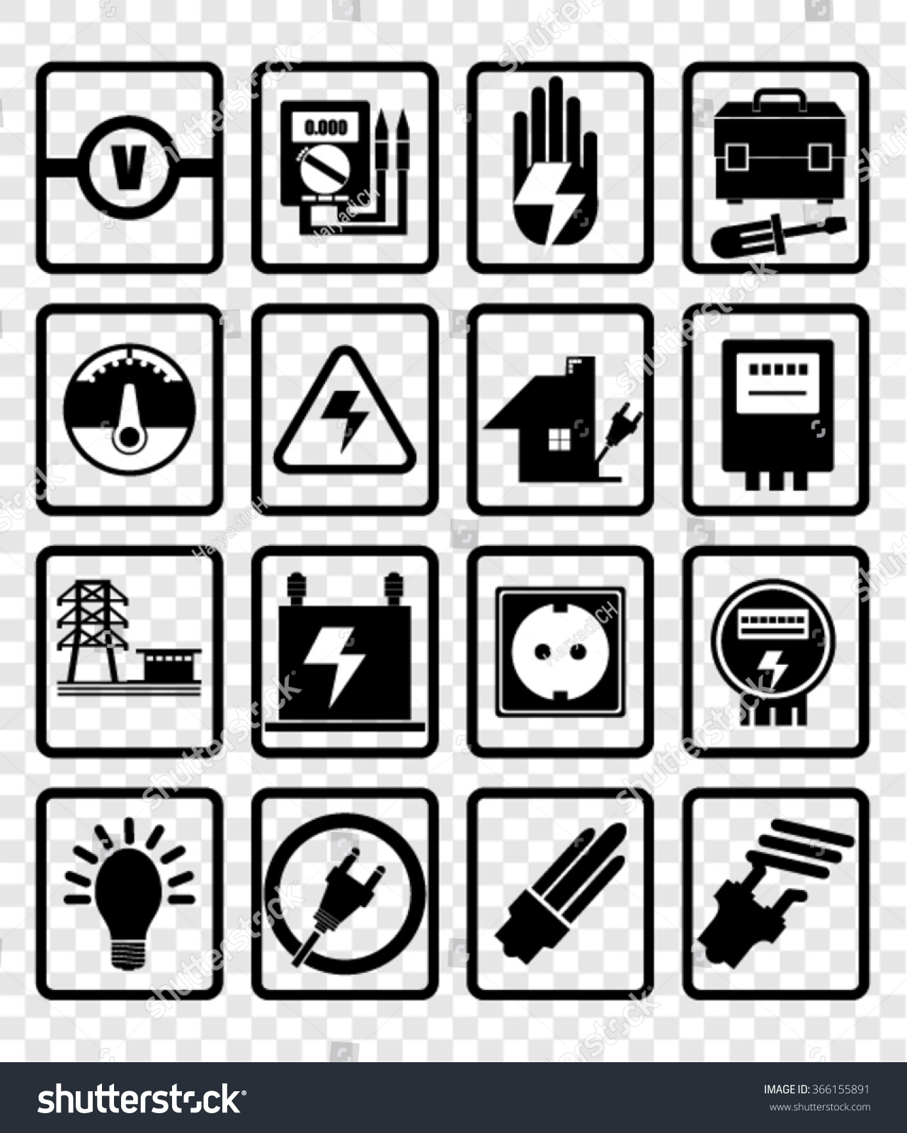 Electricity Icons Vector Stock Vector 366155891 - Shutterstock