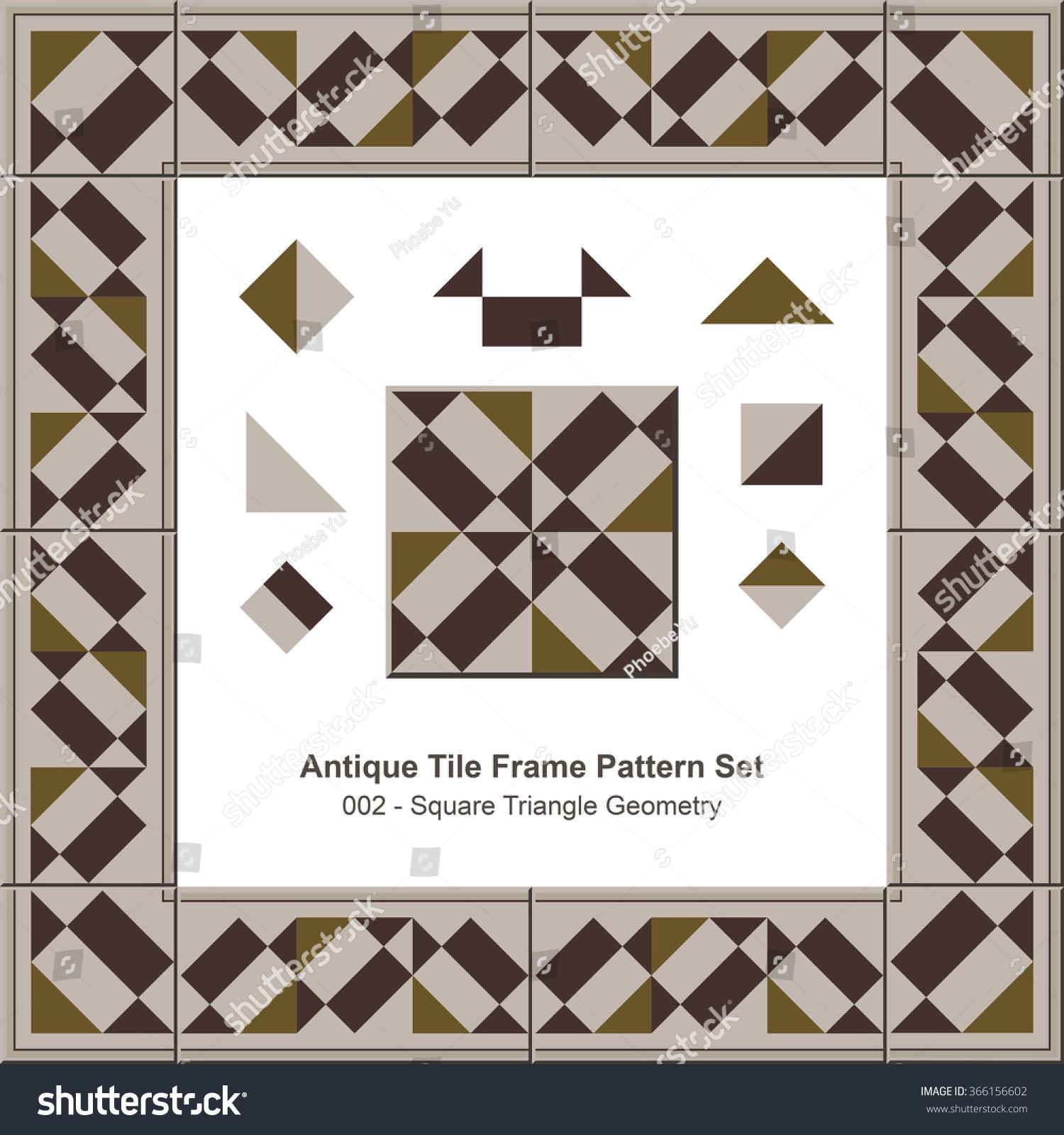 Antique Tile Frame Pattern Set 002 Square Stock Vector 366156602 ...