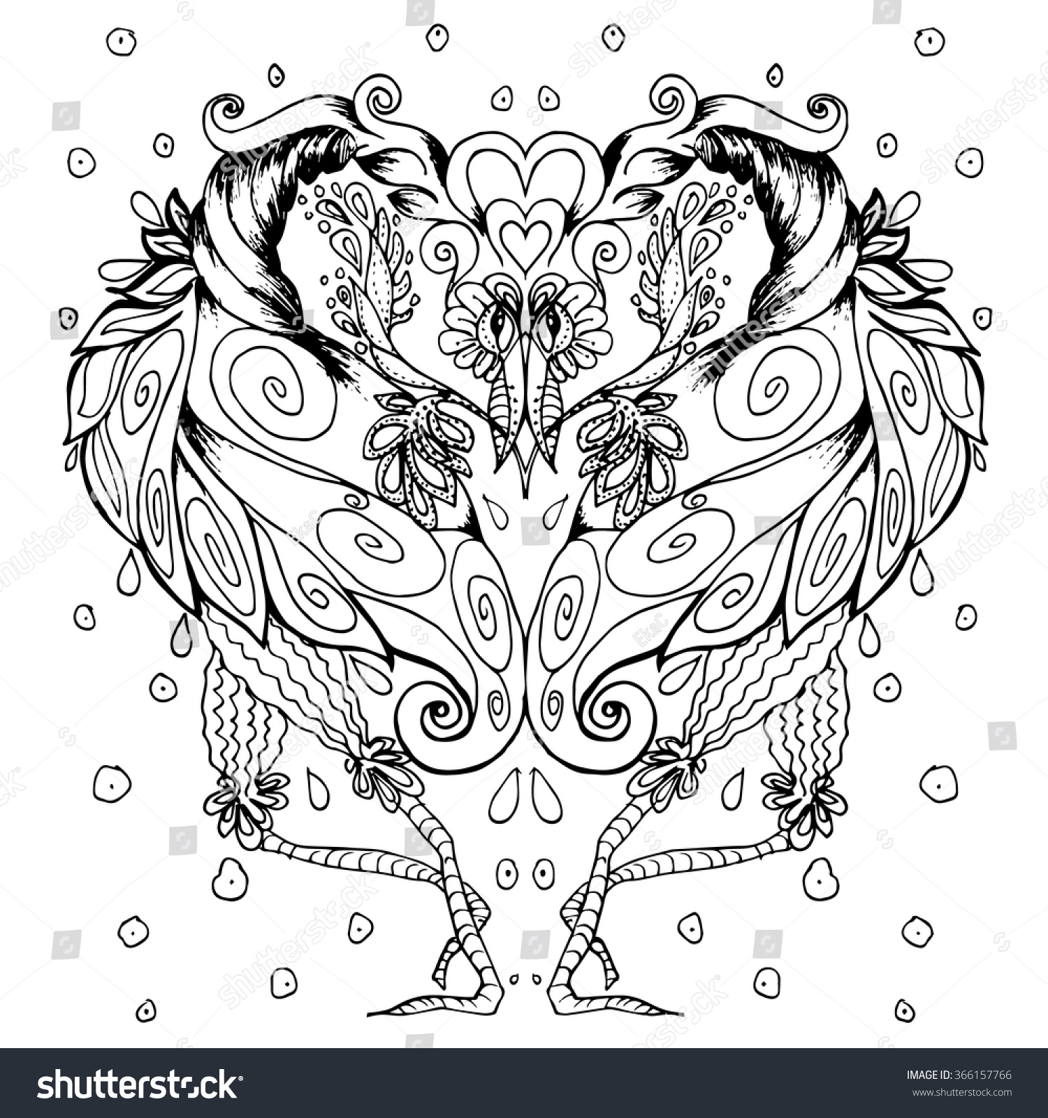 Black And White Bird Drawing For Coloring Book Detailed Design Page Illustration In