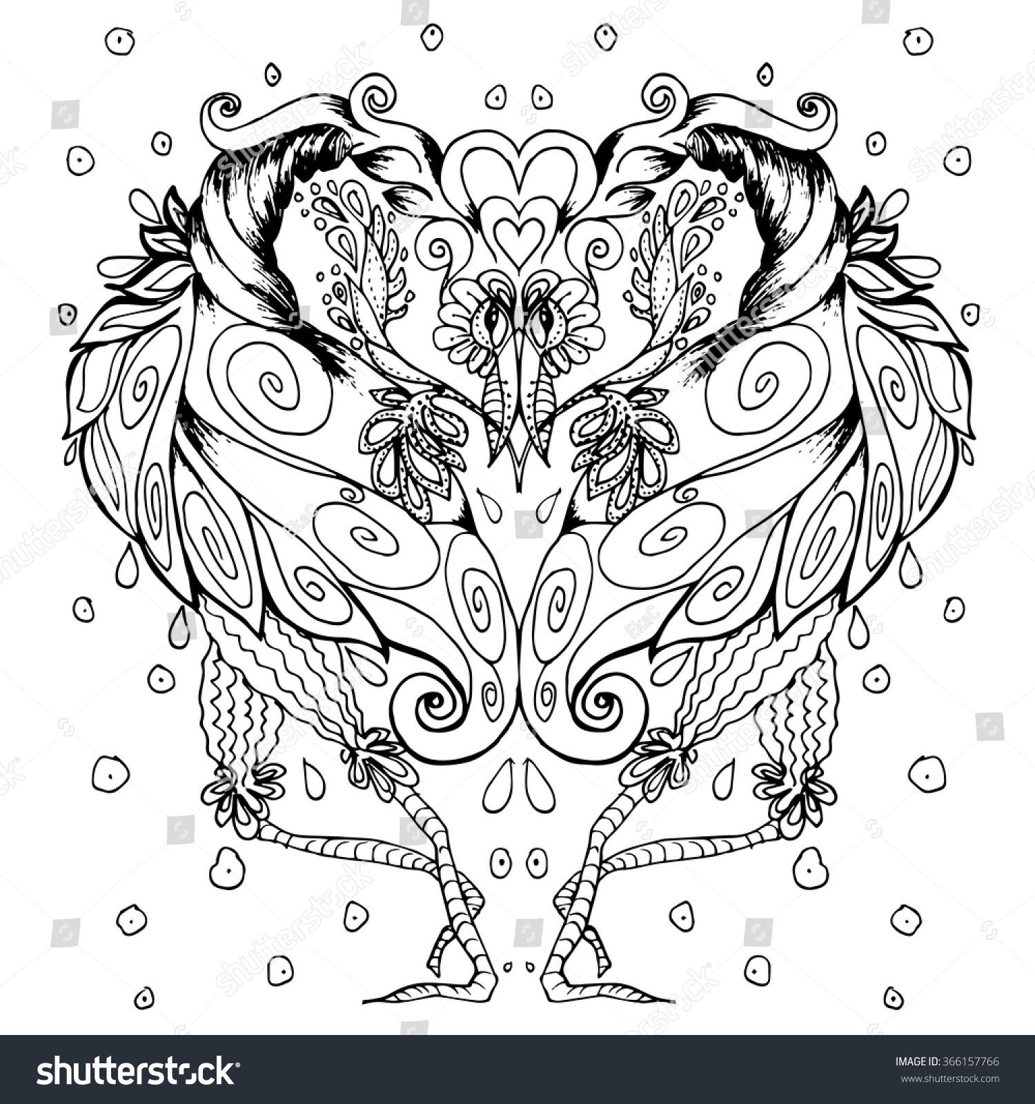 Black White Bird Drawing Coloring Book Stock Vector