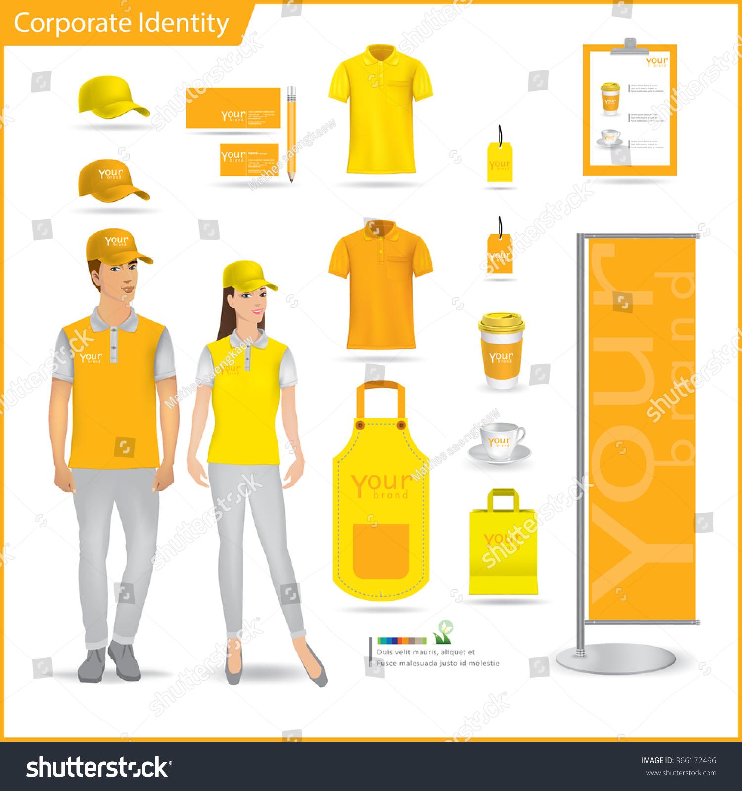 Shirt design layout - Vector Menu Package T Shirt Cap Uniform Design Layout Set