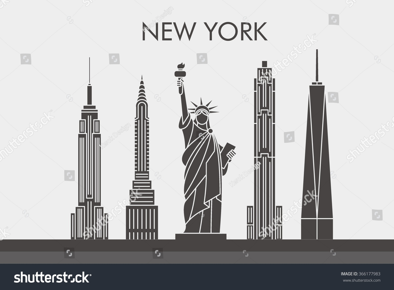 Line Art New York : New york city skyline line art stock vector