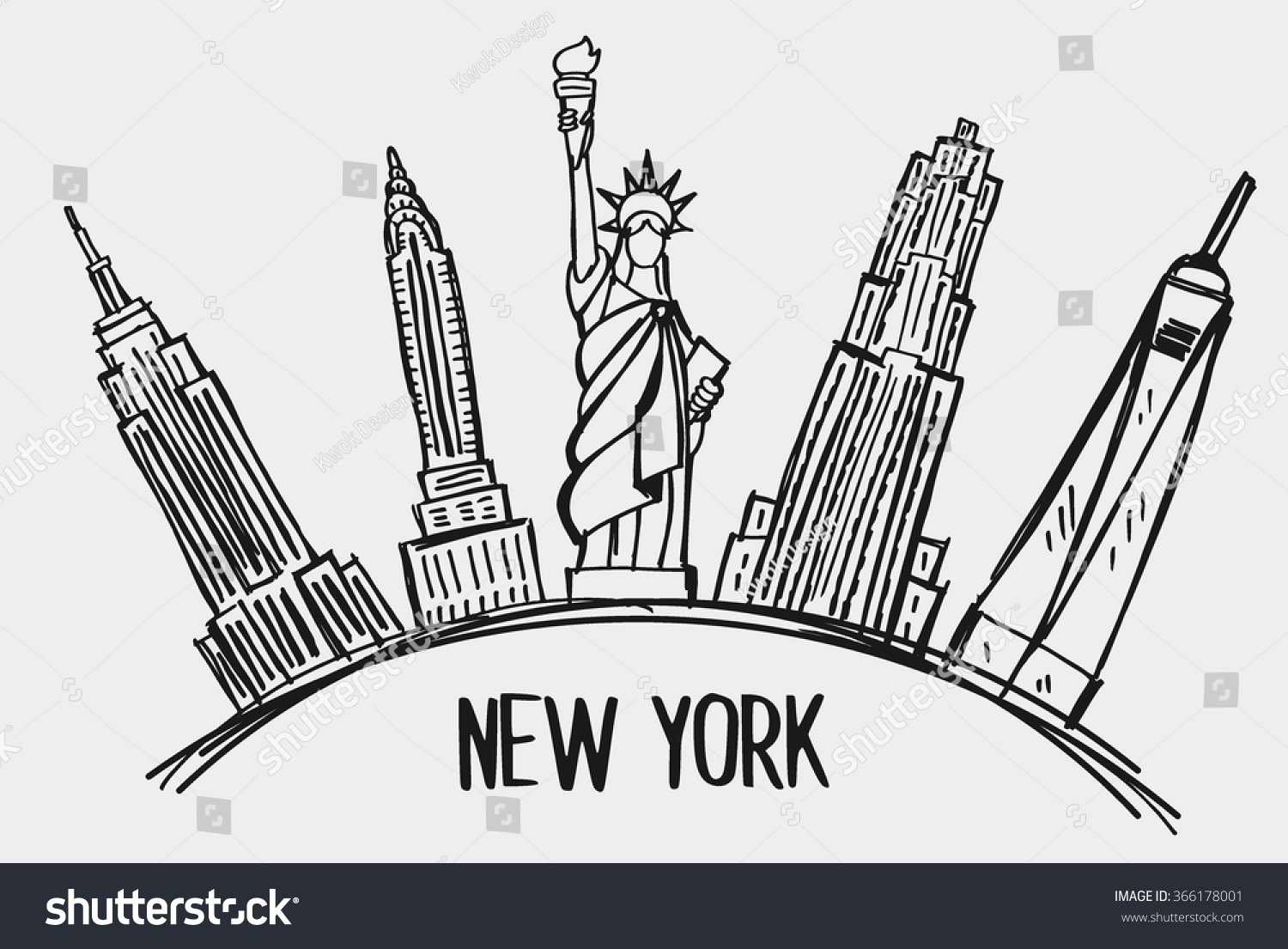 New Line Art Design : New york city skyline line art stock vector
