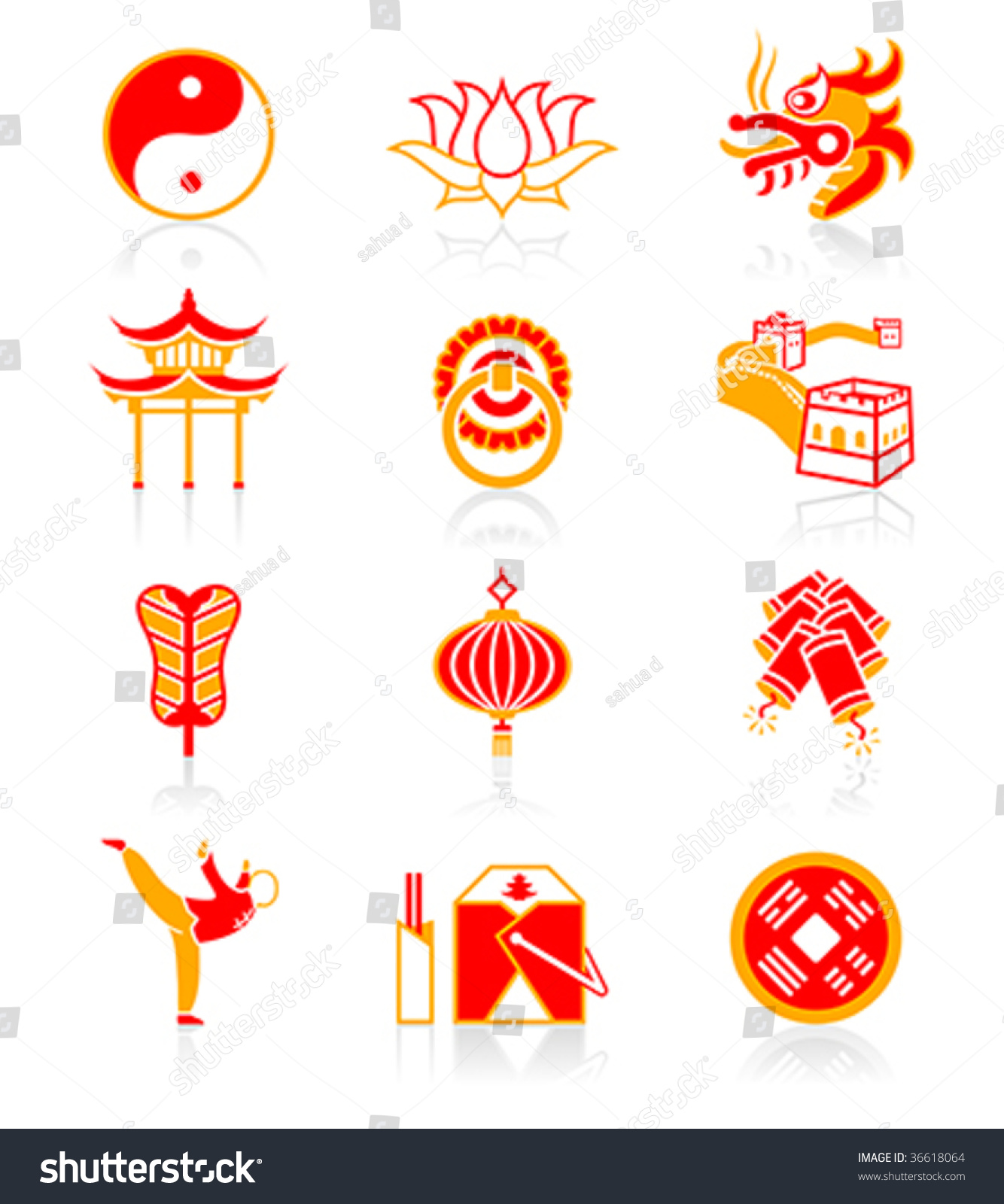 Traditional Chinese Culture Symbols Objects Icon Stock Photo Photo
