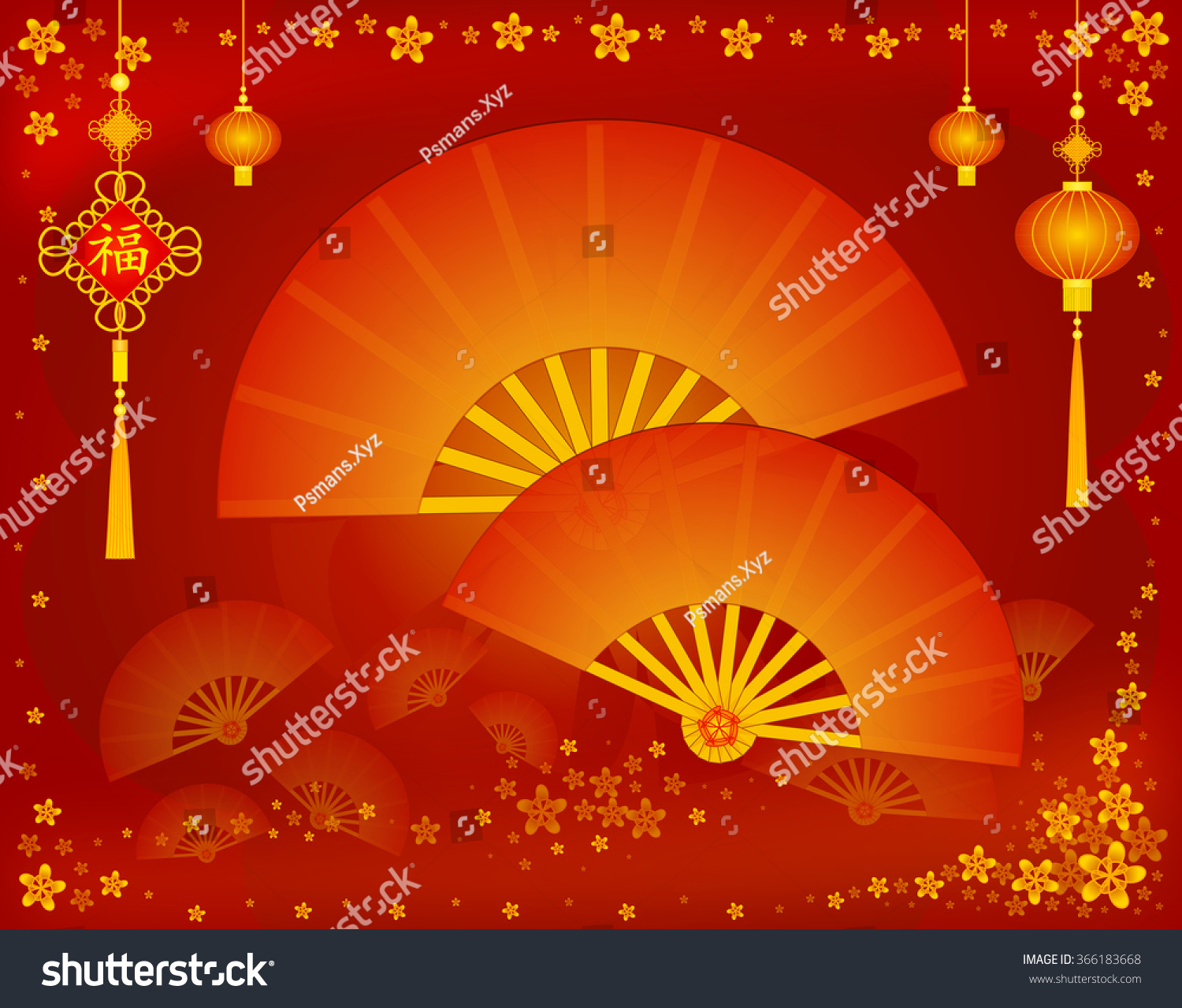 Chinese Greeting Card Decorated Lucky Chinese Stock Illustration
