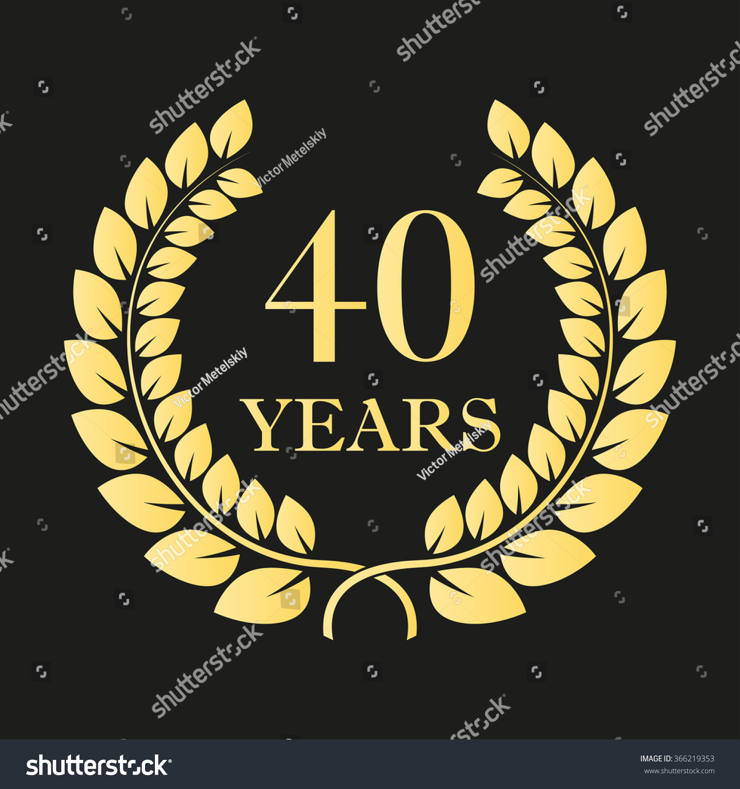 40 Years Anniversary Laurel Wreath Icon Stock Illustration Royalty