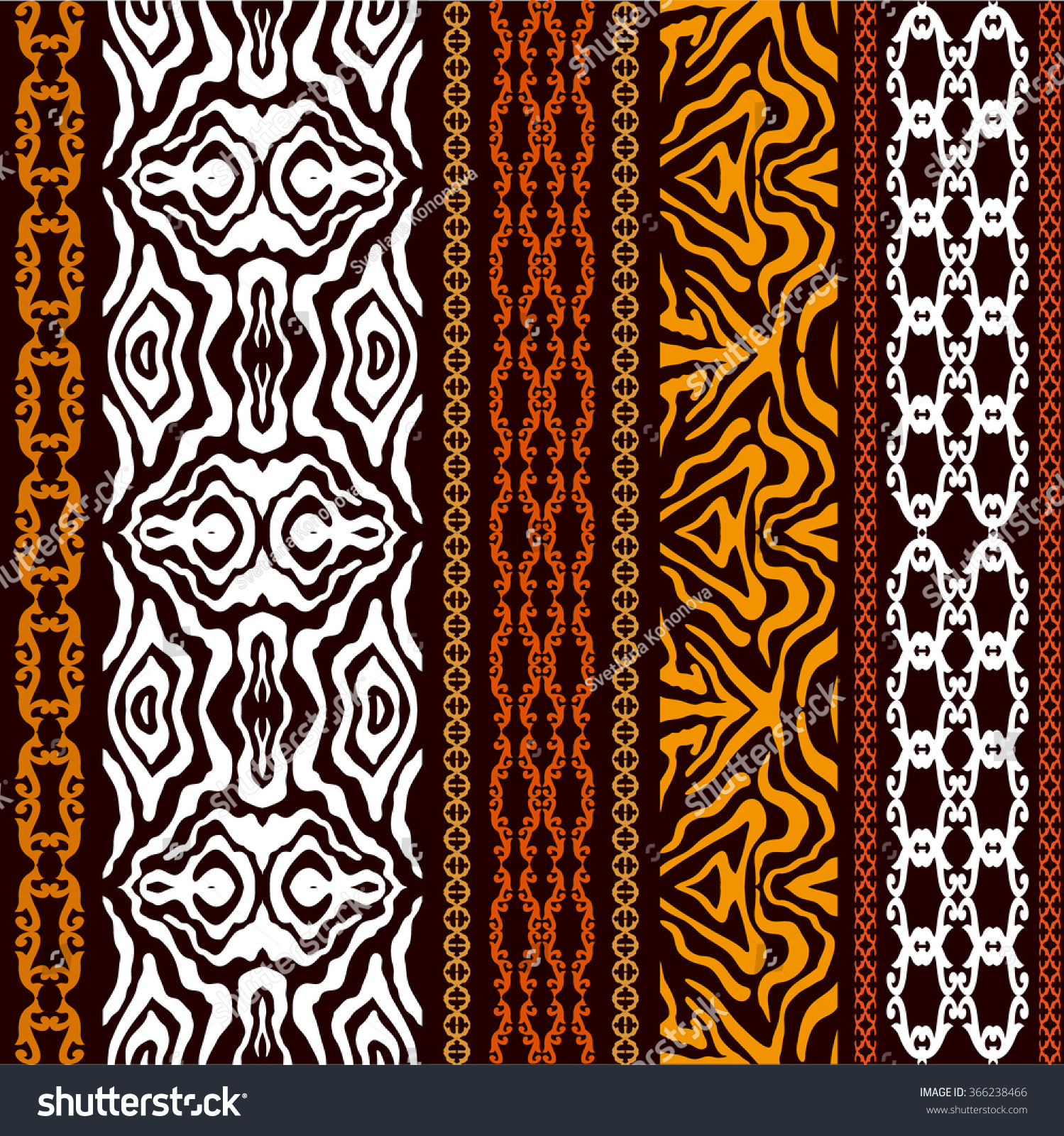 Vintage Seamless Wallpaper With Ethnic Motifs And Tiger Print Abstract Geometrical Vector Pattern Art