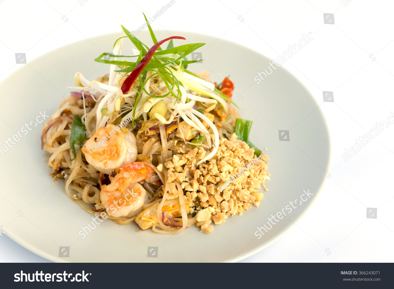 Thai Traditional Food Stirfried Rice Noodles Stock Photo ...