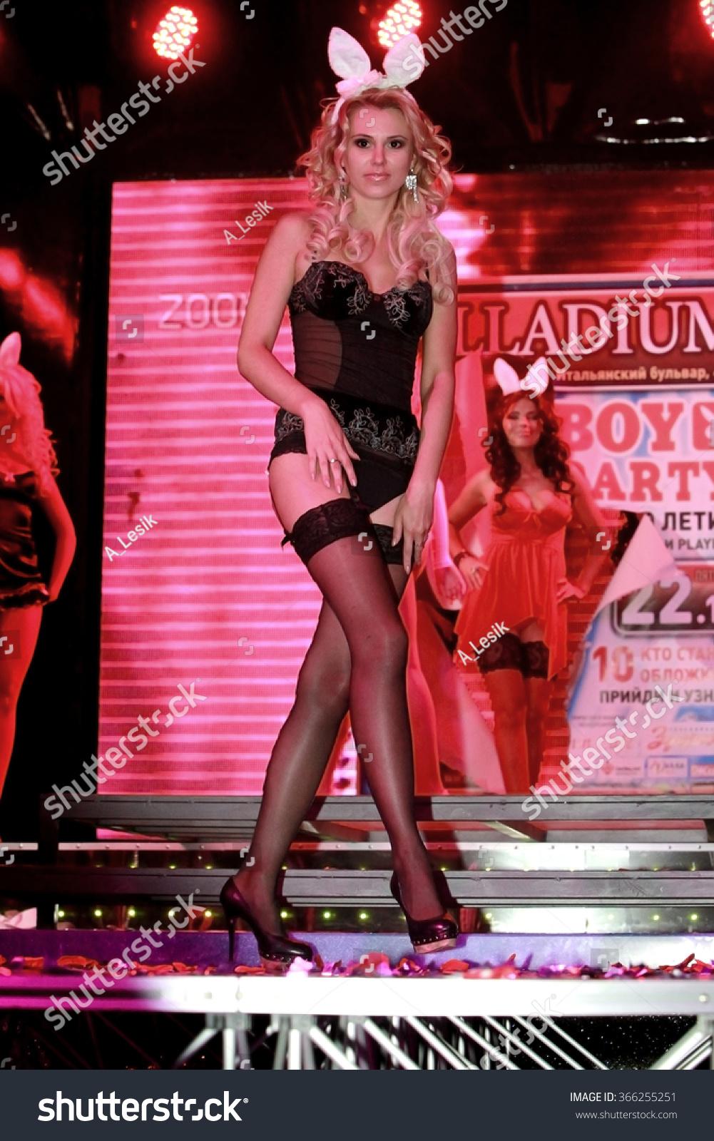 stock photo odessa ukraine october jubilee magazine playboy nightclub beautiful girls