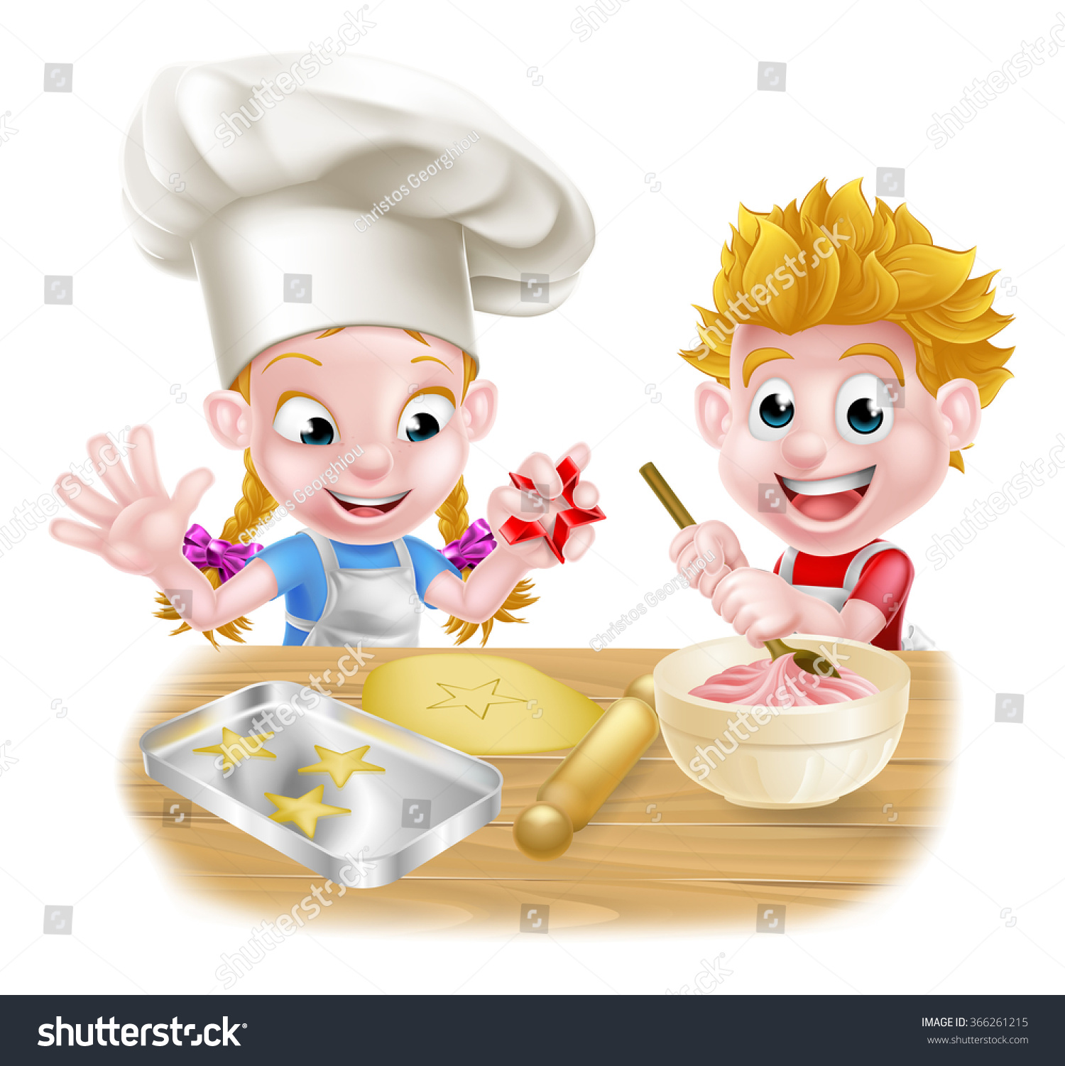 Selection of cartoons on cooking kitchens food and eating - Cartoon Children Baking And Cooking As Chefs In The Kitchen