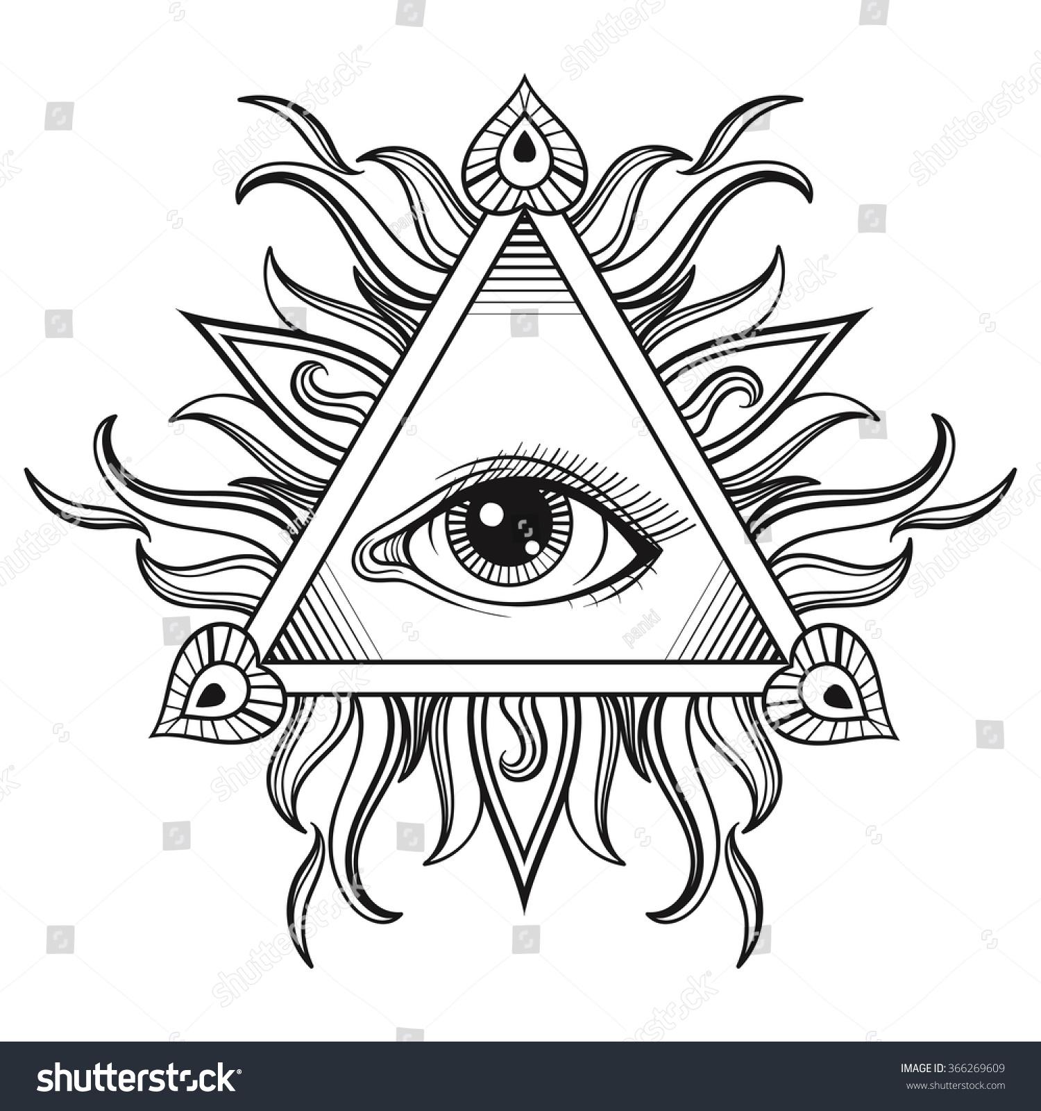 All Seeing Eye Pyramid Symbol In Tattoo Stock Photo 366269609