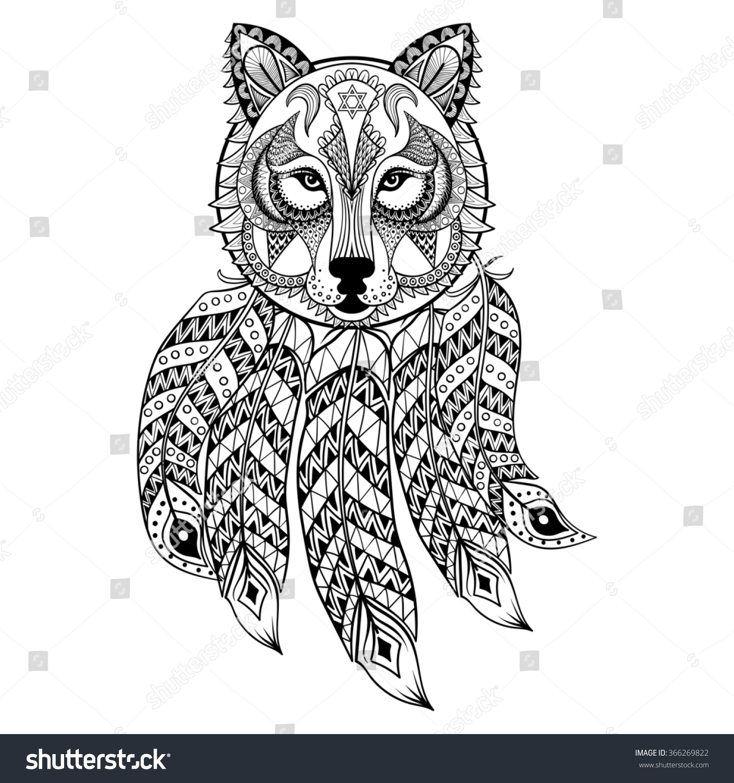 Coloring pages for adults wolf - Ornamental Wolf With Dreamcatcher Ethnic Zentangled Mascot Amulet Mask Of Werewolf Patterned