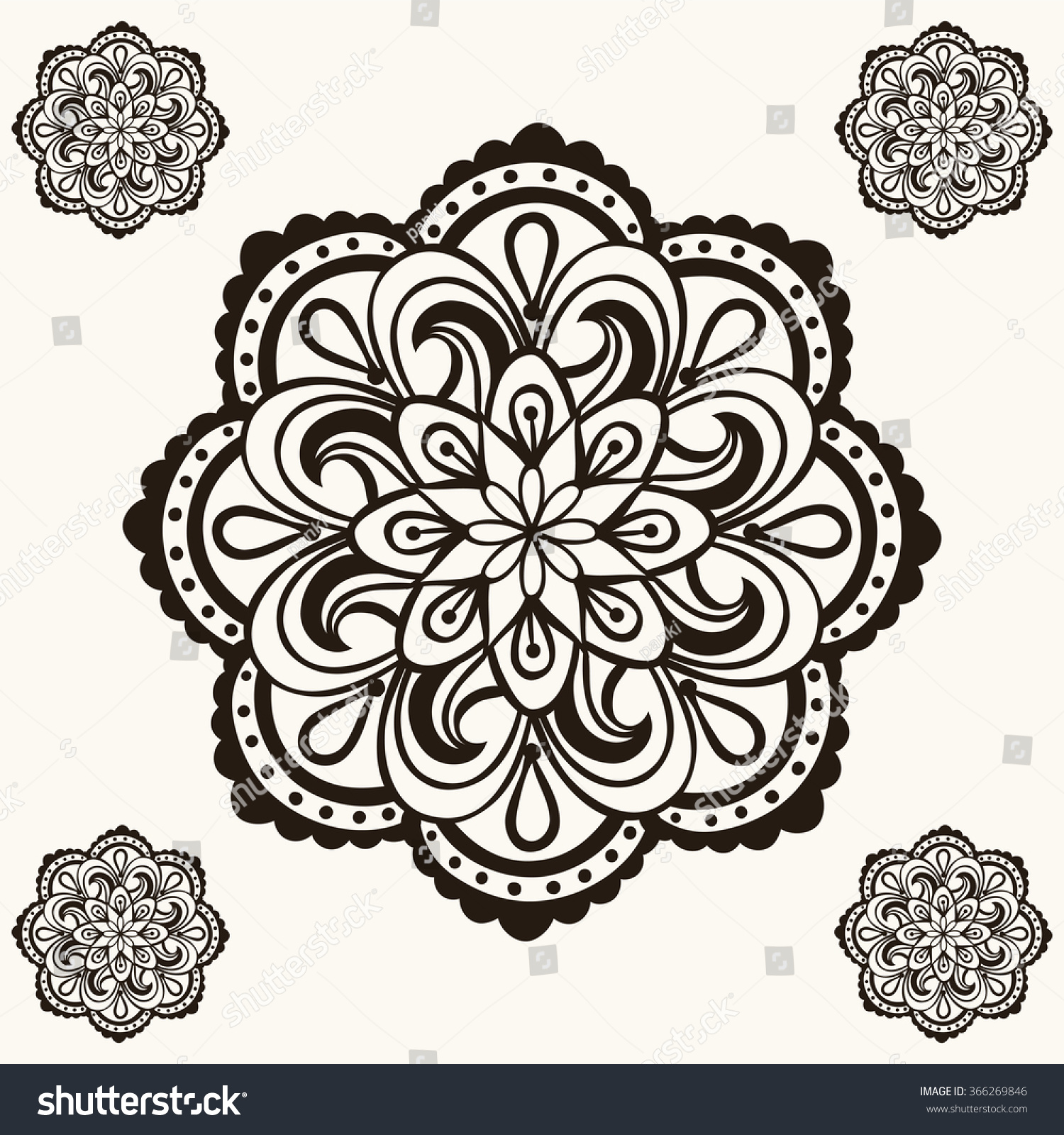 Henna Mandalas Boho Tattoo Design Doodle Stock Illustration