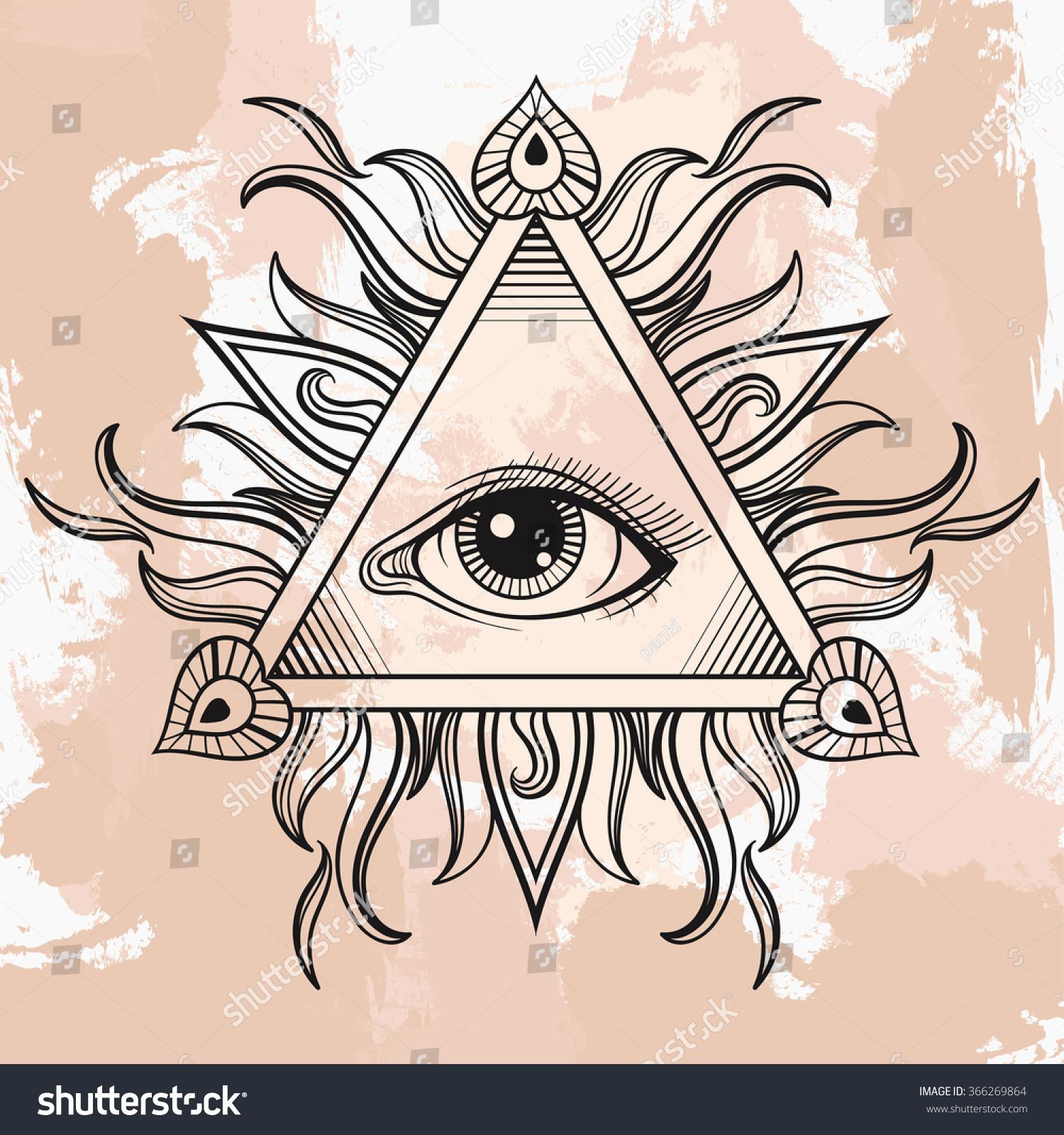 All Seeing Eye Pyramid Symbol Illumination Stock Illustration