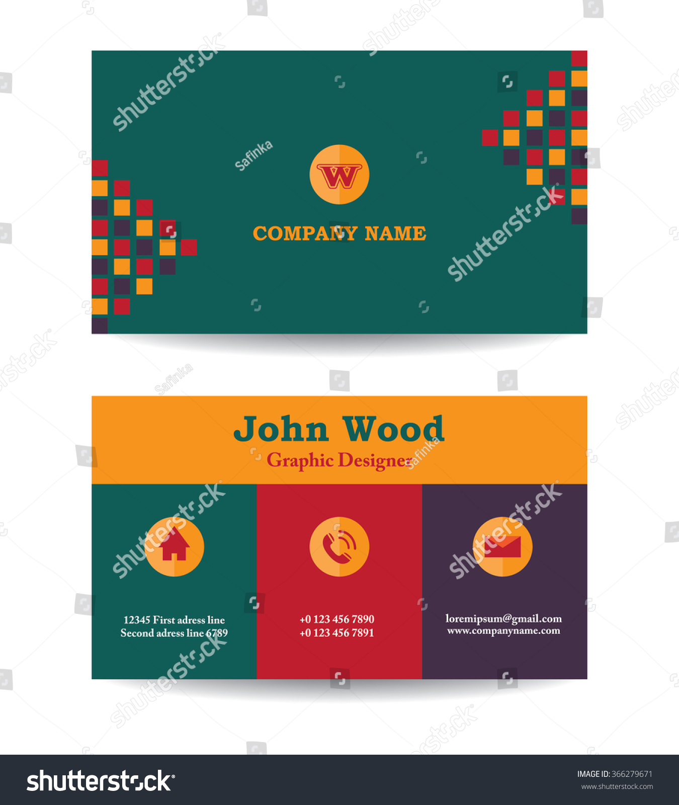 Modern business card template flat design stock vector royalty free modern business card template in flat design abstract light background personal plain business card flashek Images