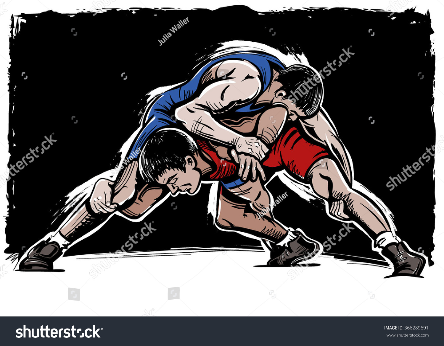 Vector Color Comics Freestyle Wrestling Illustration Stock Vector Royalty Free 366289691