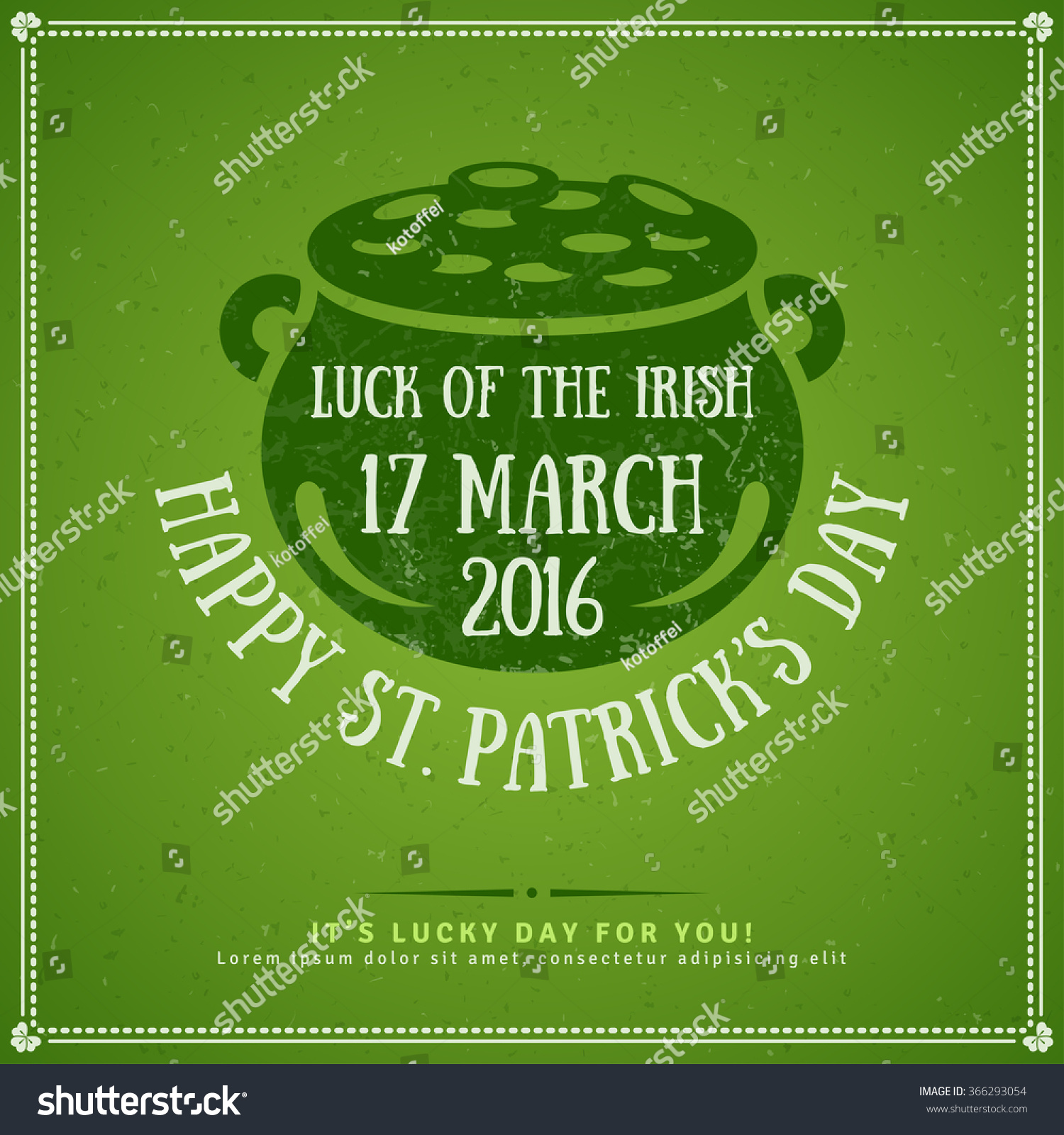 Happy St Patricks Day Greeting Card Stock Vector 366293054 ...