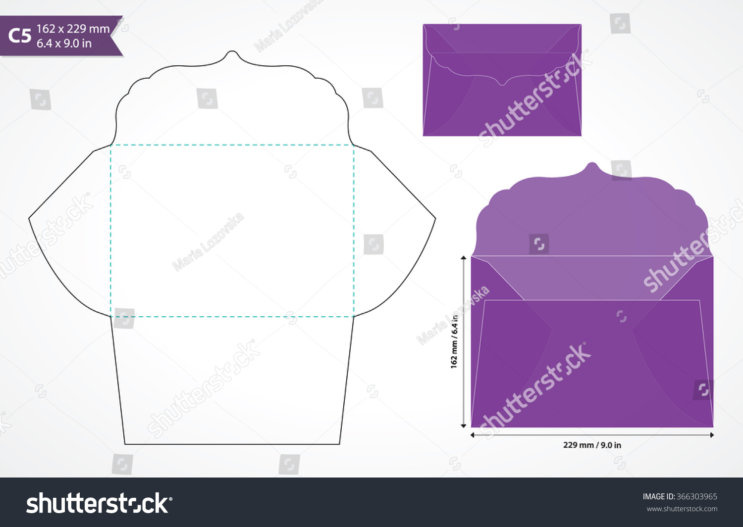 die cut wedding envelope template original stock vector 366303965 shutterstock. Black Bedroom Furniture Sets. Home Design Ideas