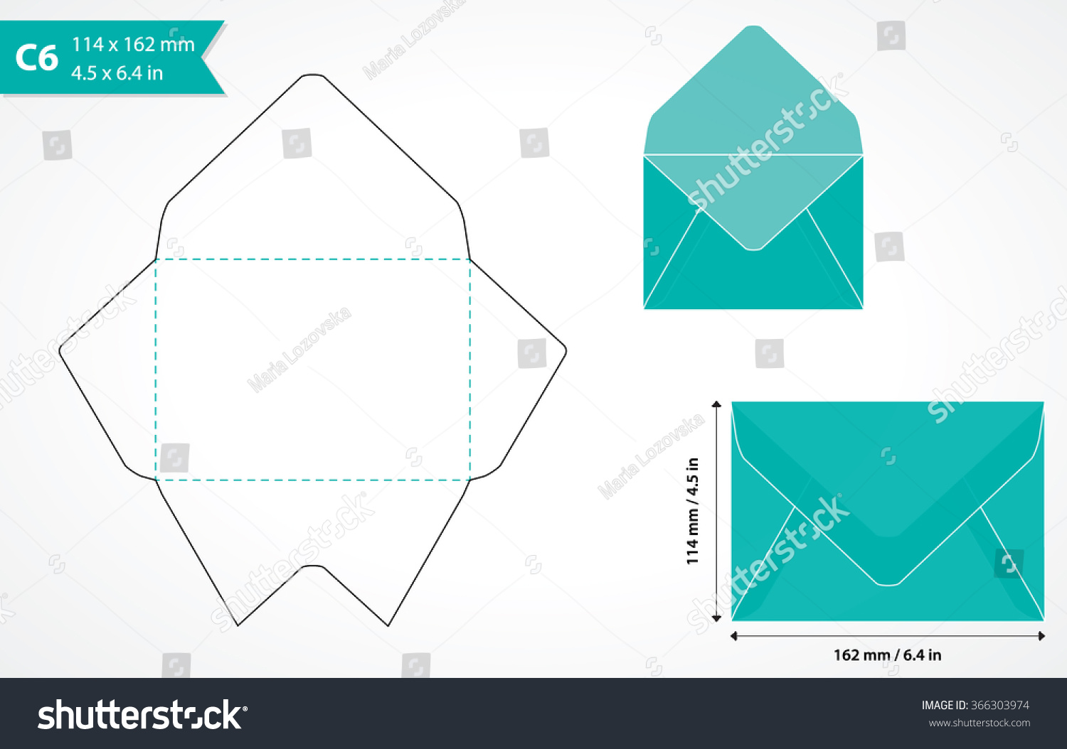 cutout paper envelope template perfect making stock vector 366303974 shutterstock. Black Bedroom Furniture Sets. Home Design Ideas