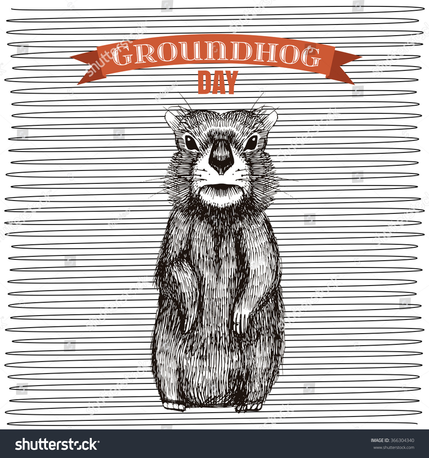 happy groundhog day design cute hand stock vector 366304340