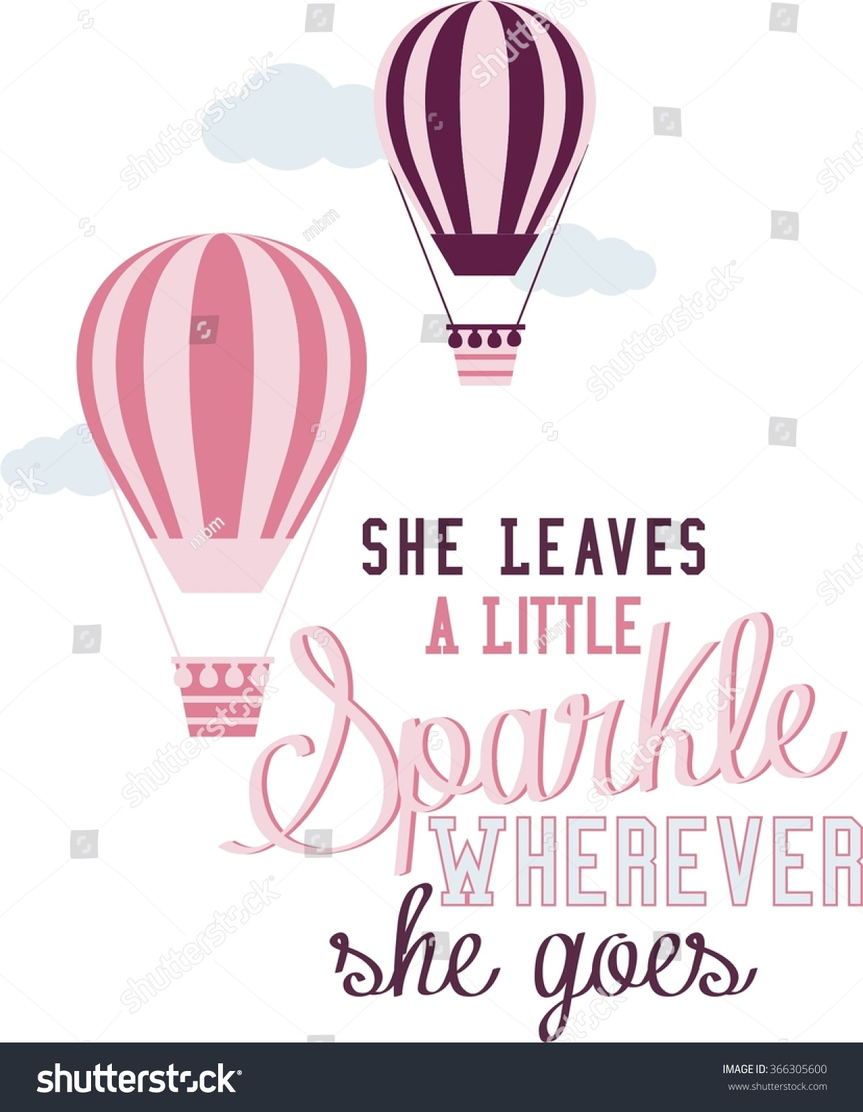 Vector Illustration Hot Air Balloons Motivational Stock Vector