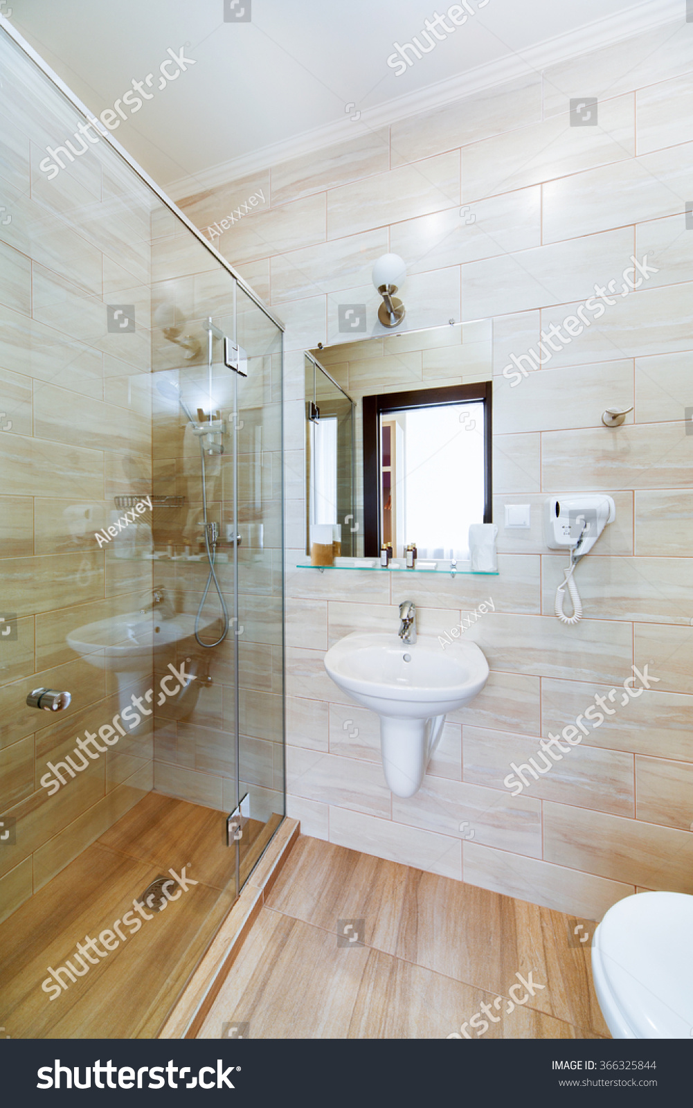 Small Bathroom Hotel Rooms Shower Washbasin Stock Photo (Royalty ...
