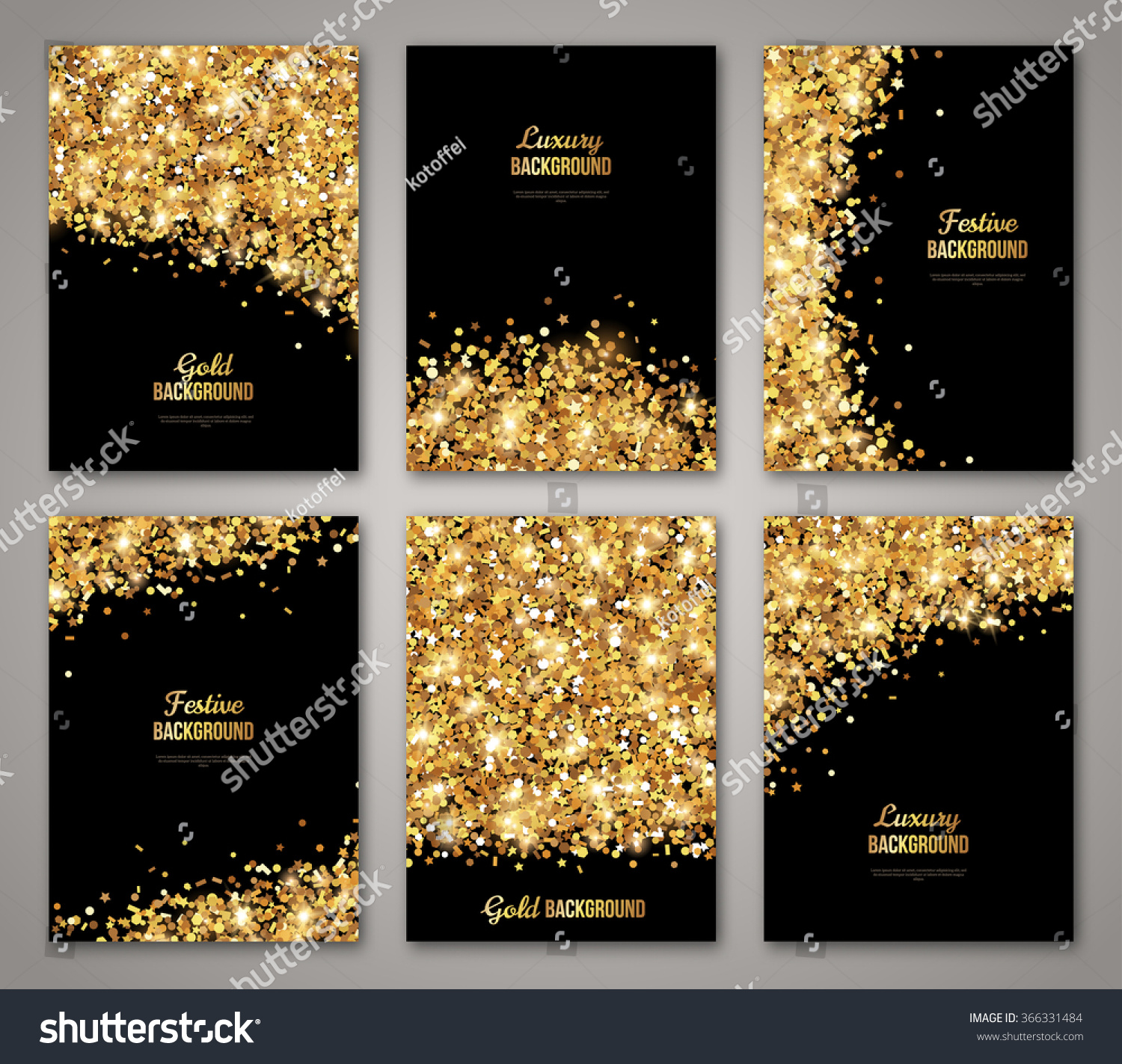 Set Black Gold Banners Greeting Card Stock Vector (Royalty Free) 366331484