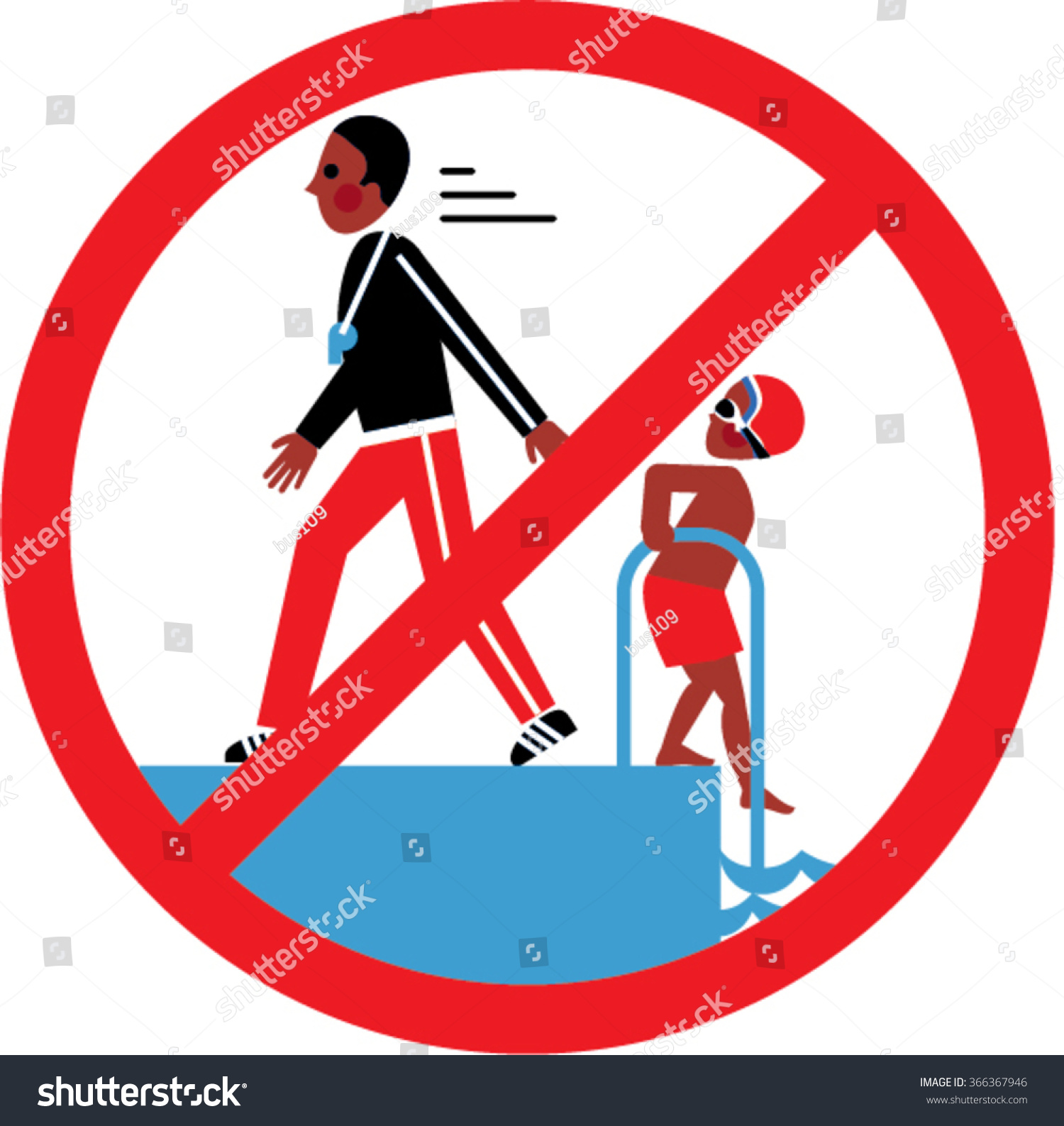 No Swimming Pool : Boy coach swimming pool no stock vector