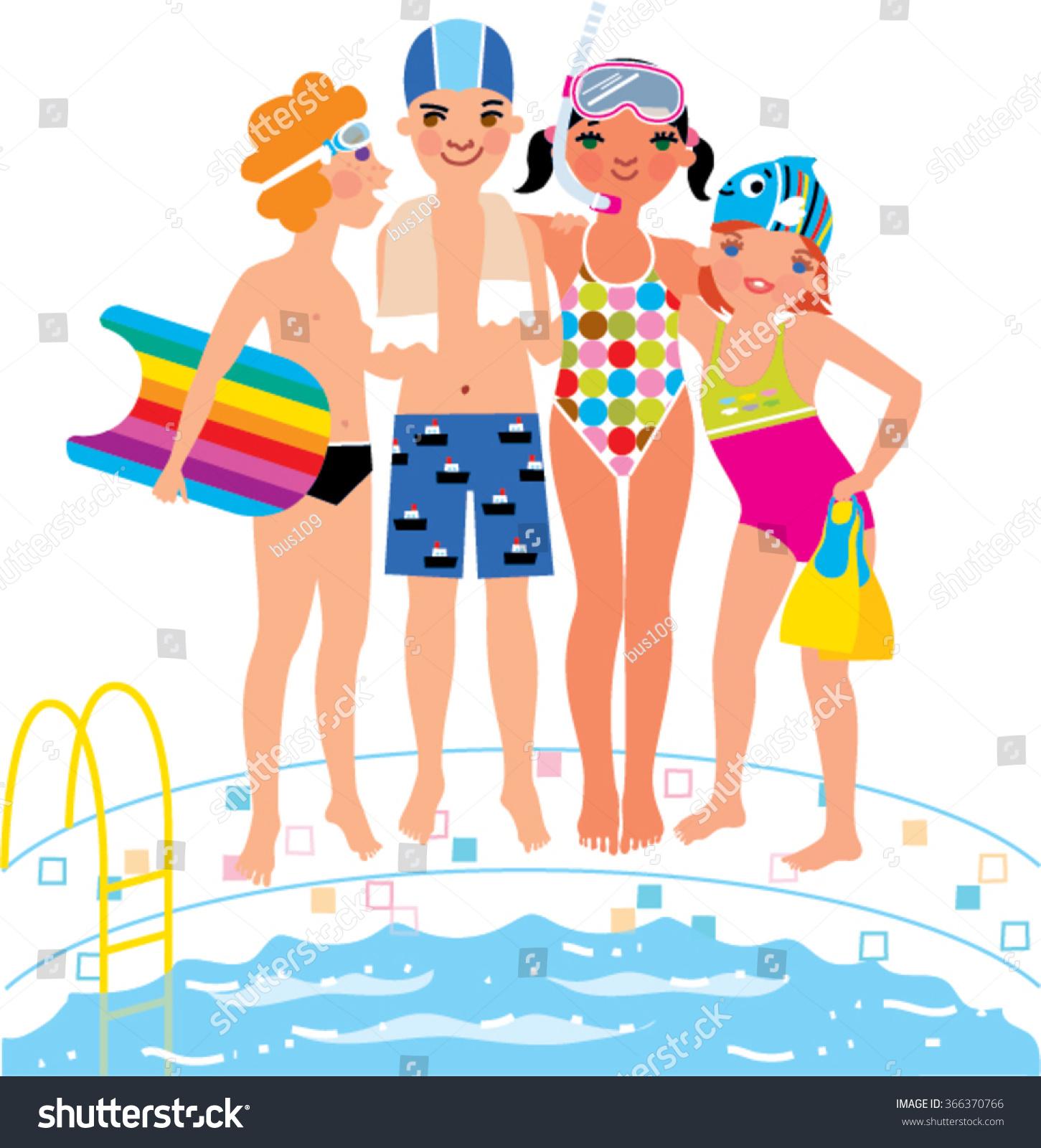 Cartoon Go Swimming Pool Boy clipart free image