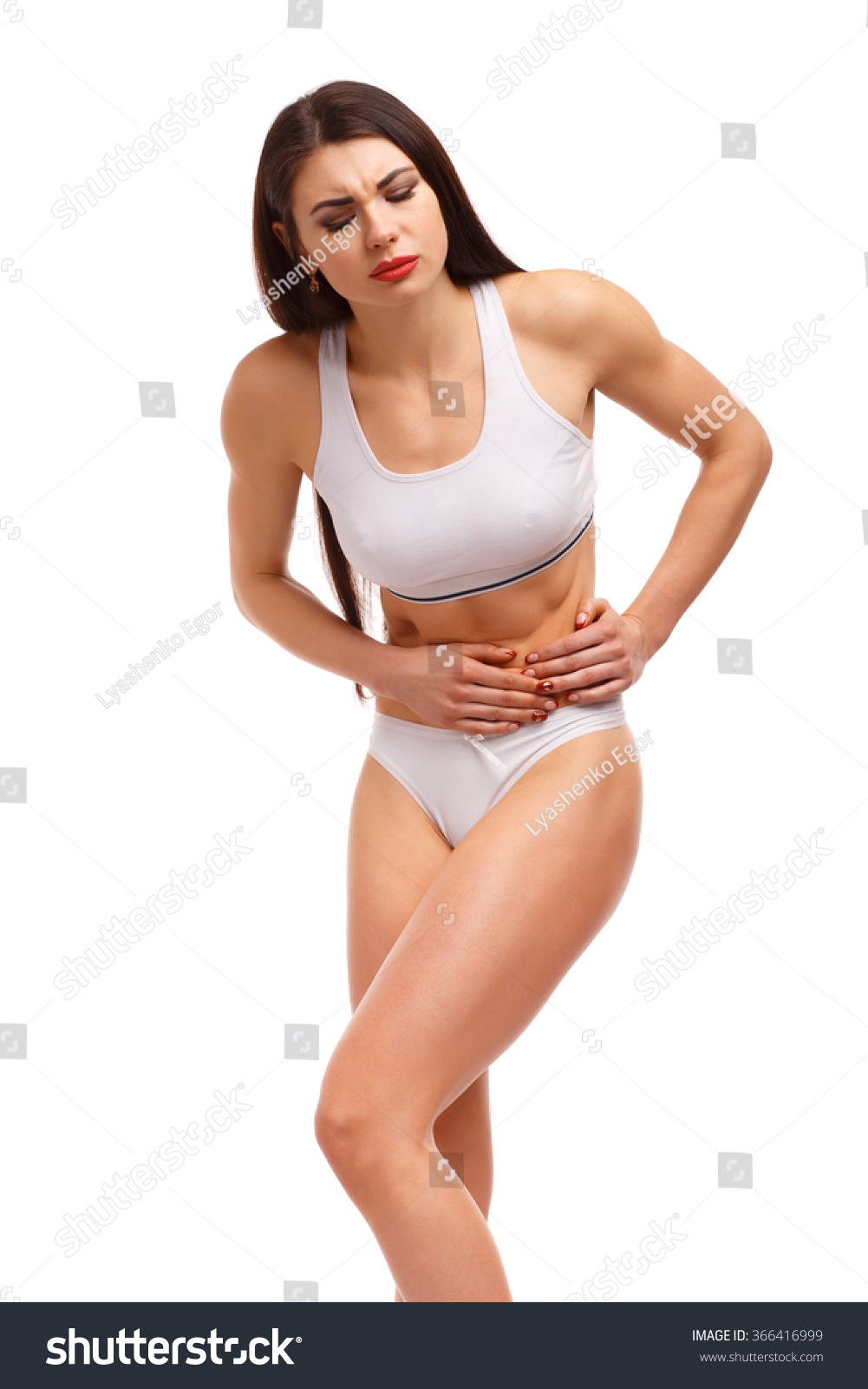 Stomach Pain Sport Woman Having Abdominal Stock Photo ...