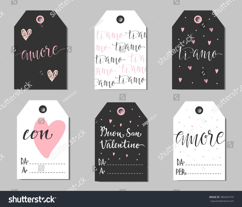 Love In Italian Translation: Romantic Gift Tags Italian Translations Amour Stock Vector